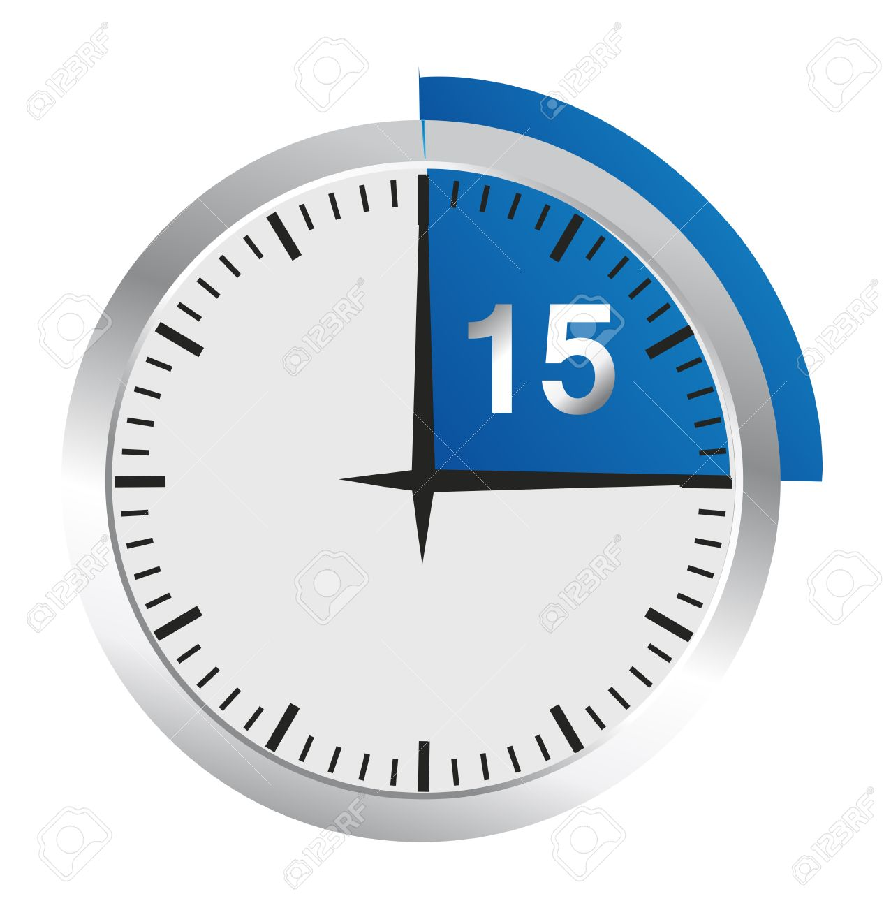 Clock 15 Minutes To Go - Bright Chrome Clock Isolated On White ...