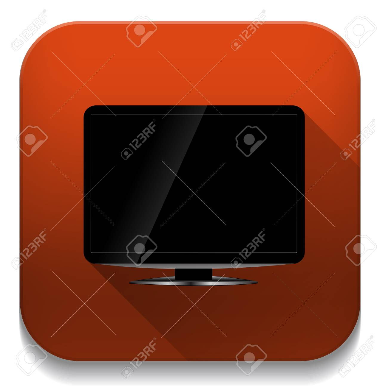 blank lcd tv template icon with long shadow over app button royalty