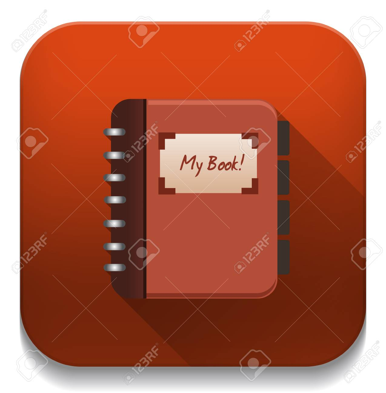 address book icon with long shadow over app button royalty free