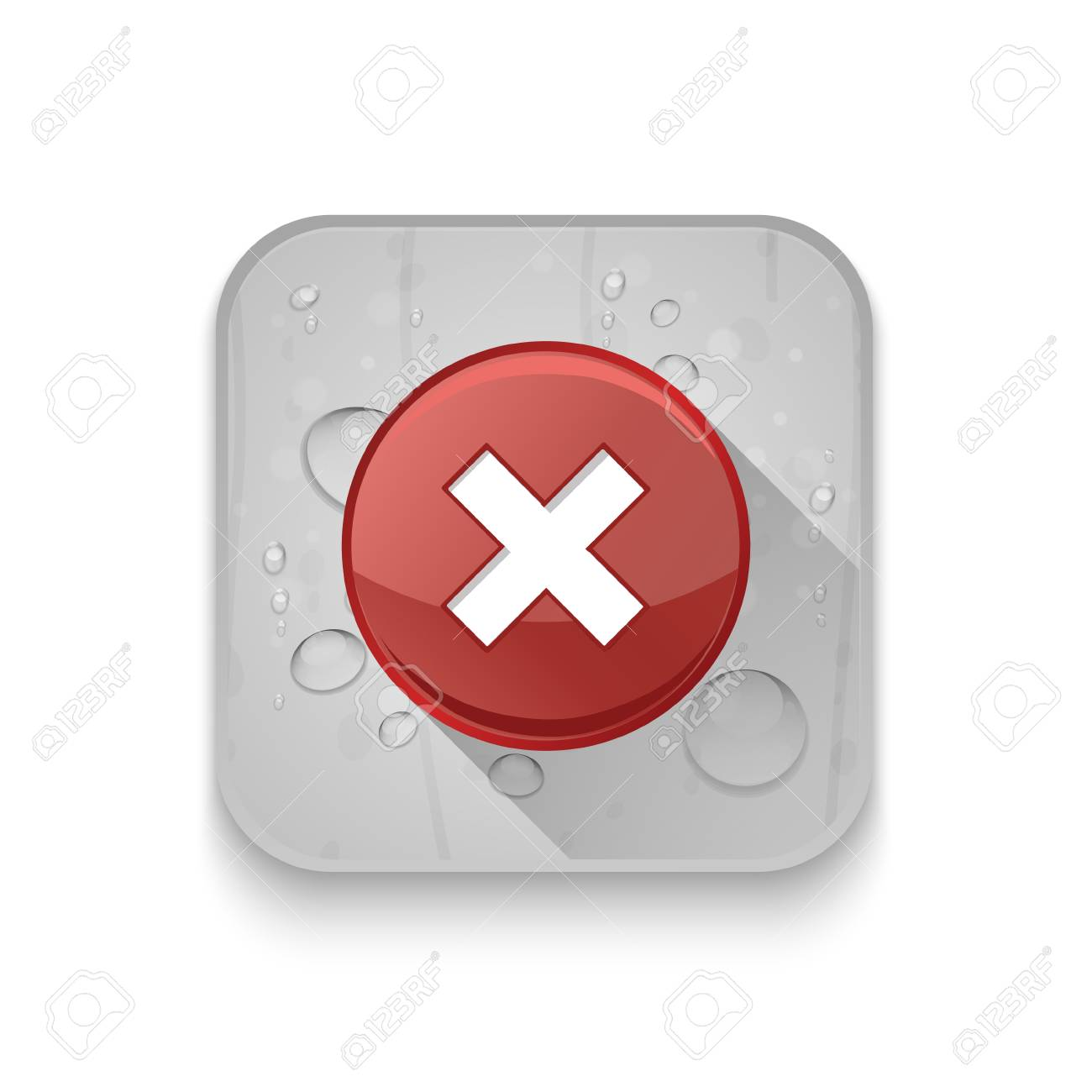 delete remove icon With long shadow over app button