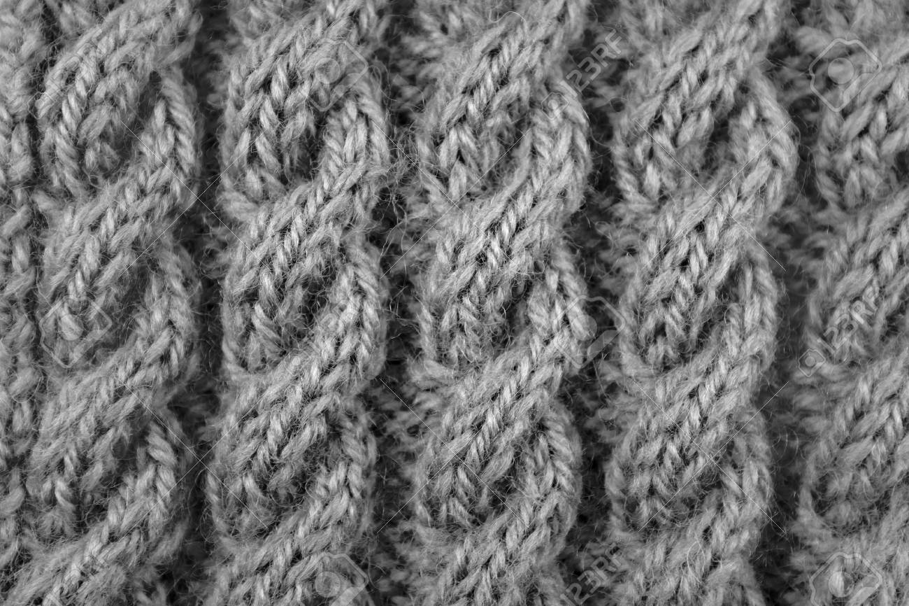 4496c5d8c Close Up Of Coiled Rope Cable Knitting Stitch - Monochrome ...