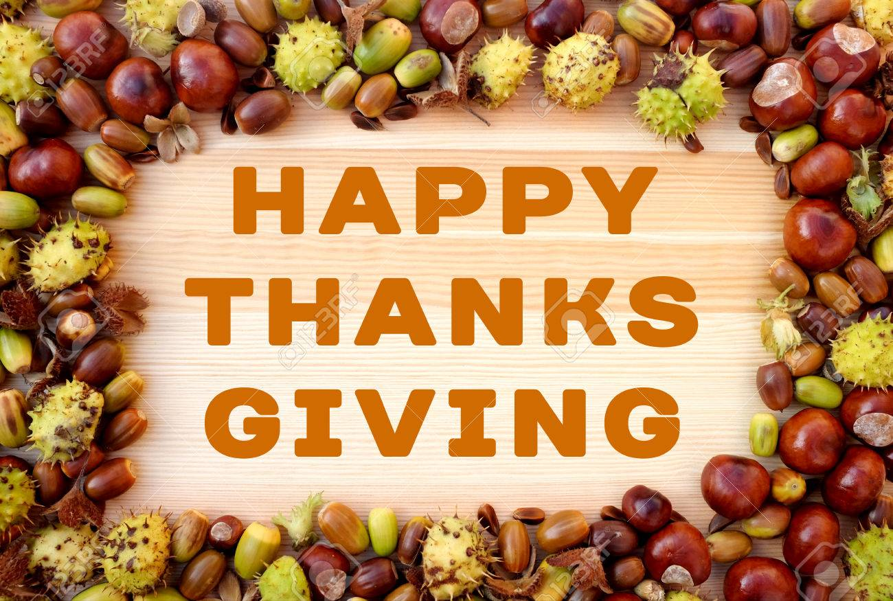 Happy Thanksgiving Greeting Written On Wooden Background With Stock Photo Picture And Royalty Free Image Image 63279201