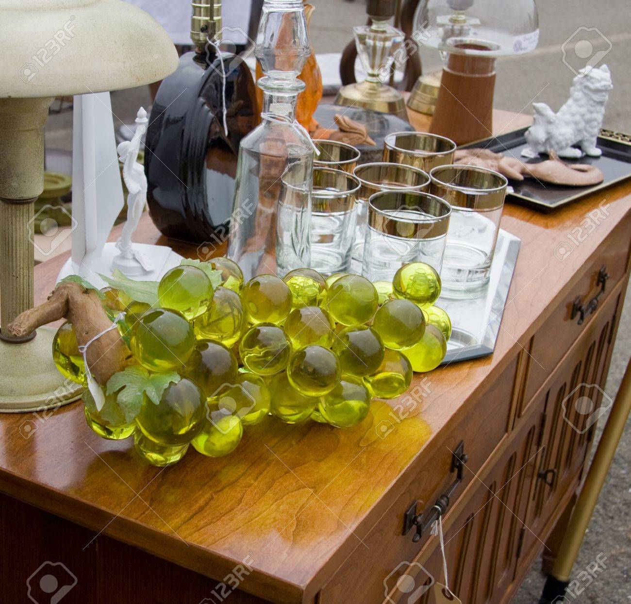 Table With Different Types Of Glass Items At Flea Market Stock Photo    13199081