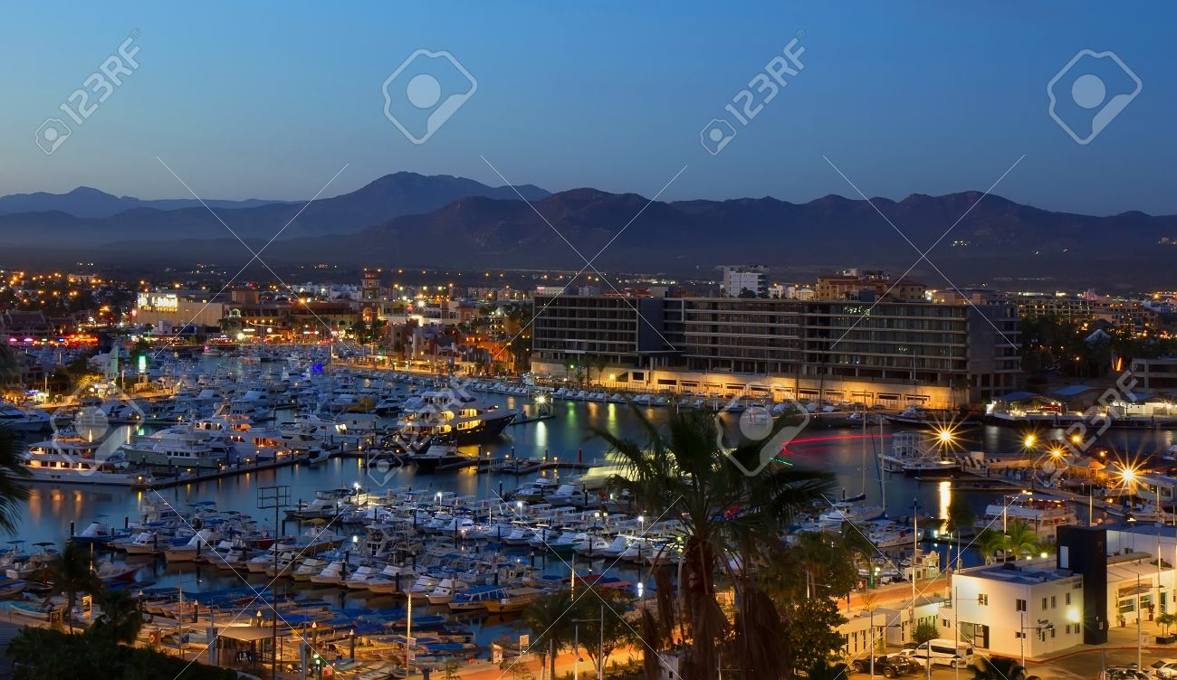 los cabos (cabo san lucas), mexico night view of city and marina