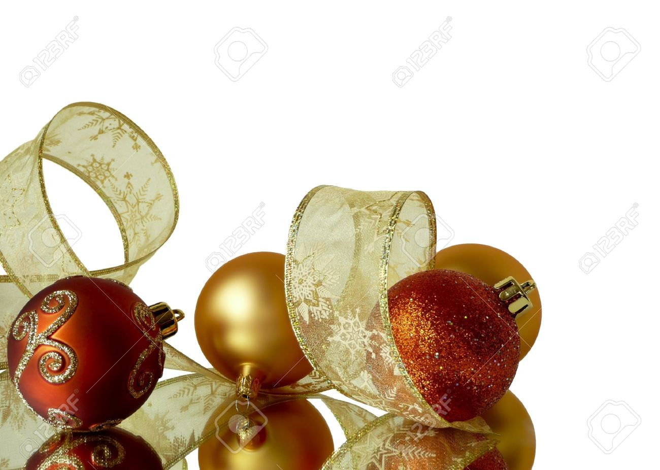 White christmas tree with red and gold decorations - Corner Background Decorations Of Red And Gold Christmas Tree Balls And Ribbons Isolated On White Stock