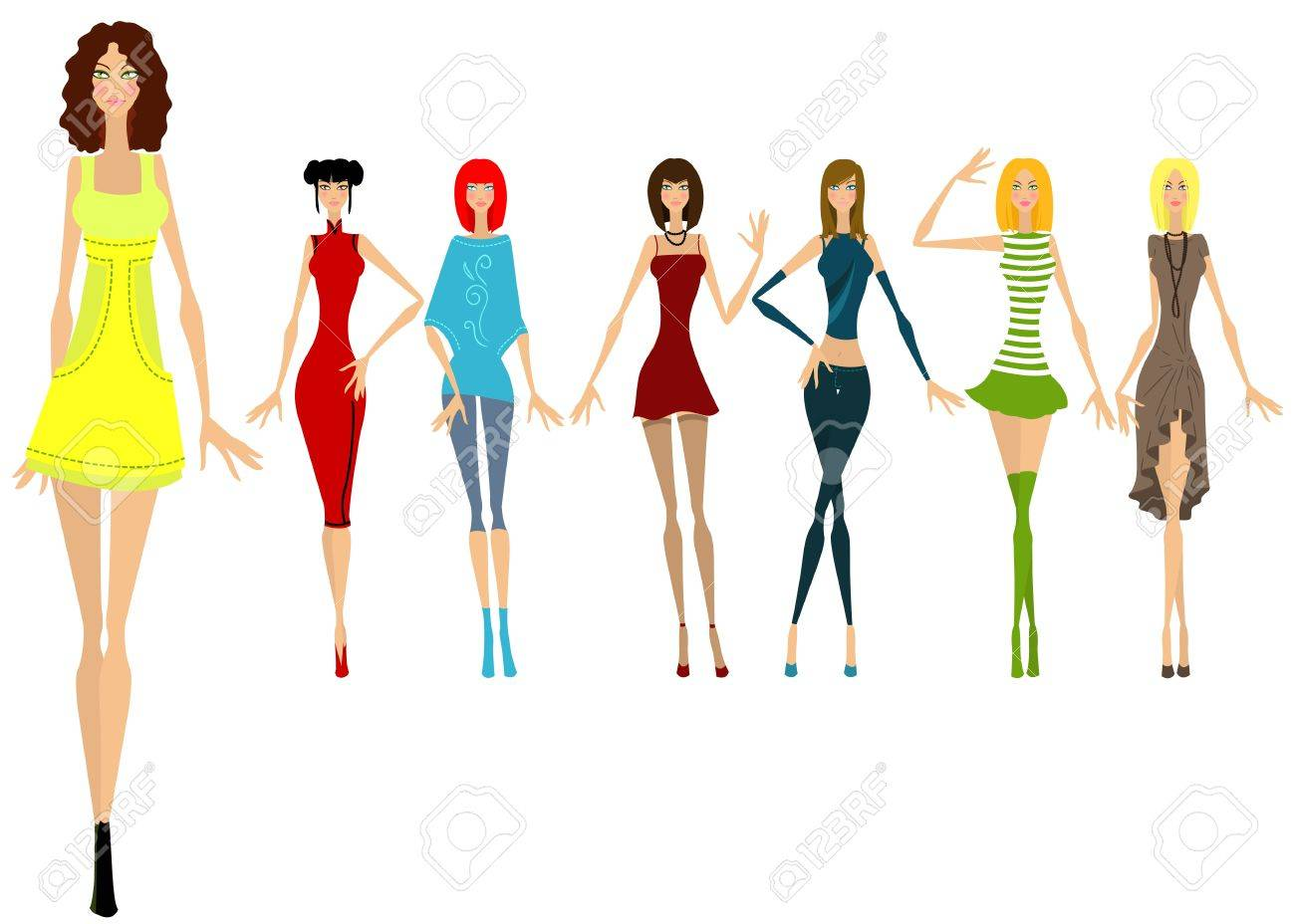 Seven beautiful girls in different clothes. Vector illustration Stock Vector - 10751752