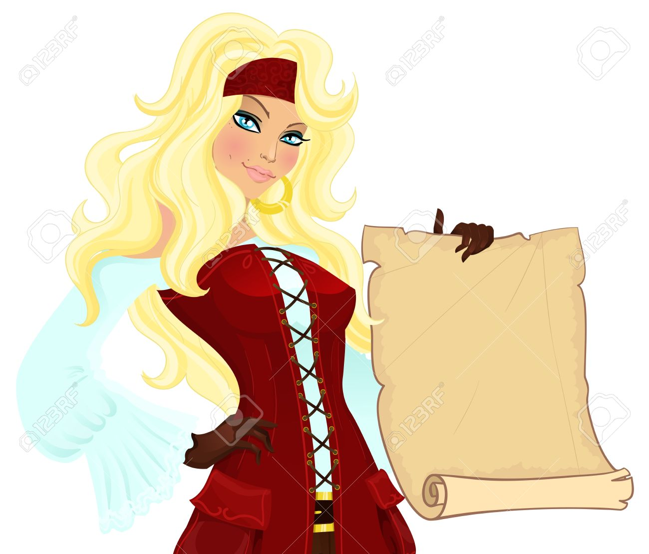 Pirate girl with scroll. Vector illustration Stock Vector - 11567569