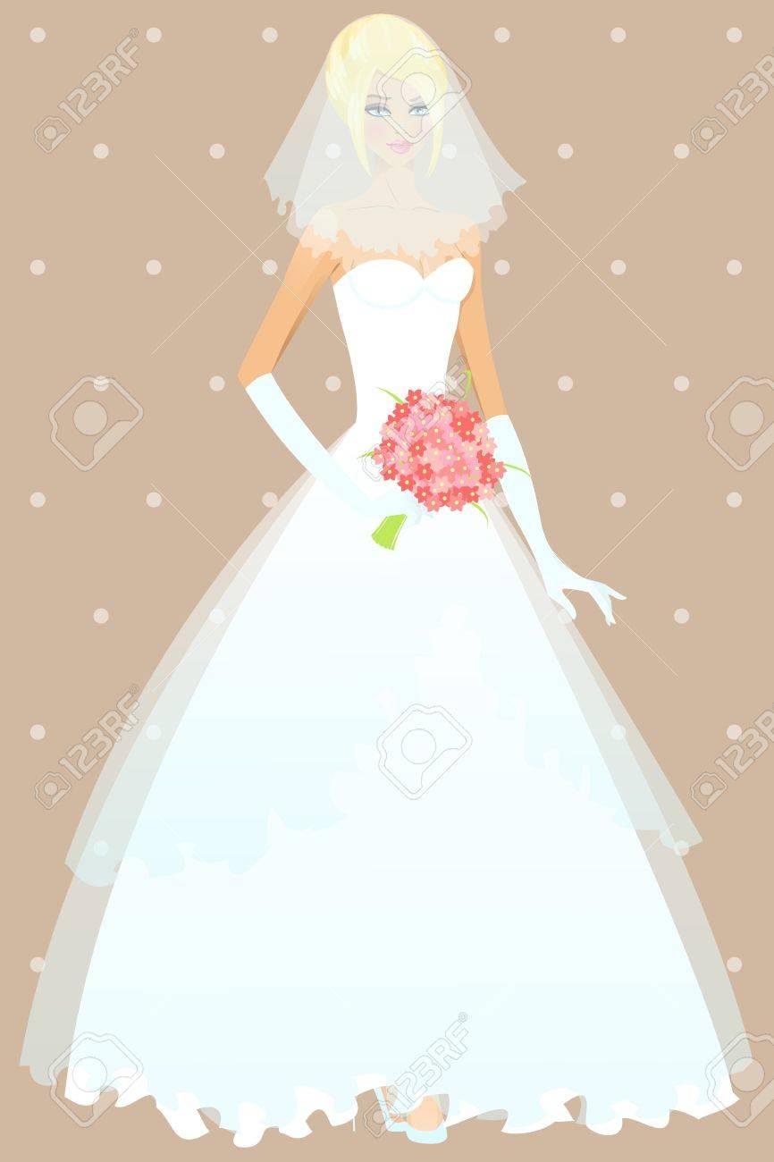 Schöne Mädchen Im Hochzeitskleid Darstellung Lizenzfrei Nutzbare ...