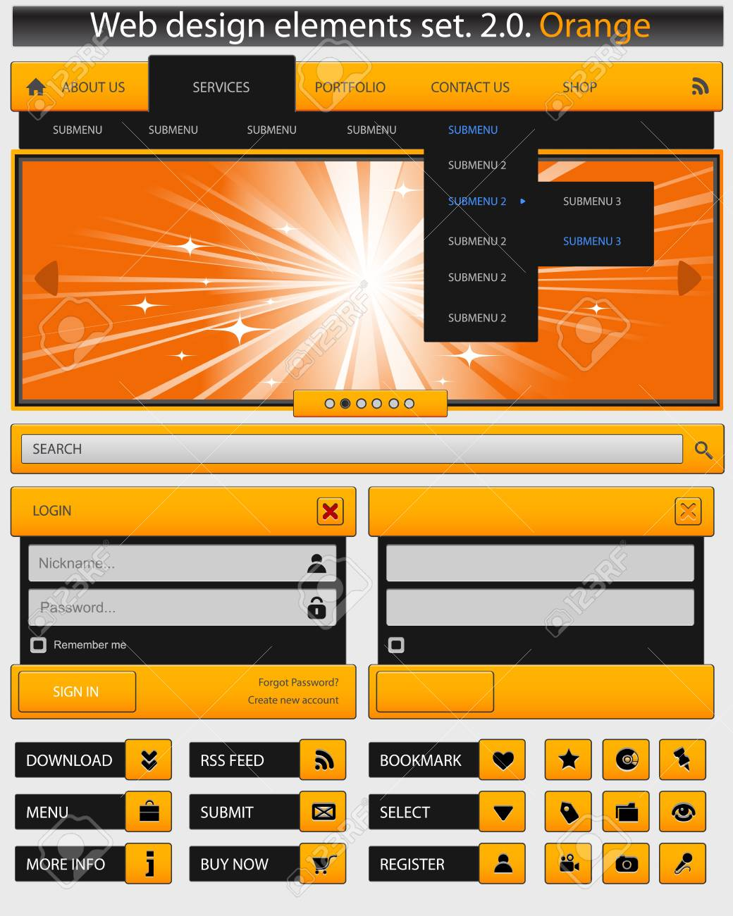 Creative web design elements set Stock Vector - 14352465