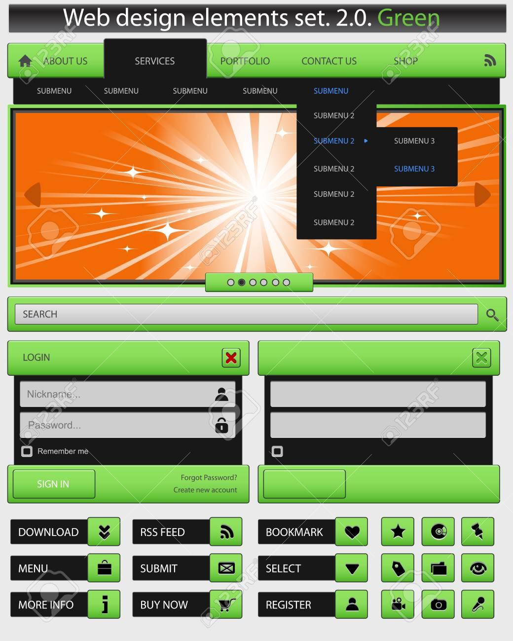 Creative web design elements set Stock Vector - 14352468