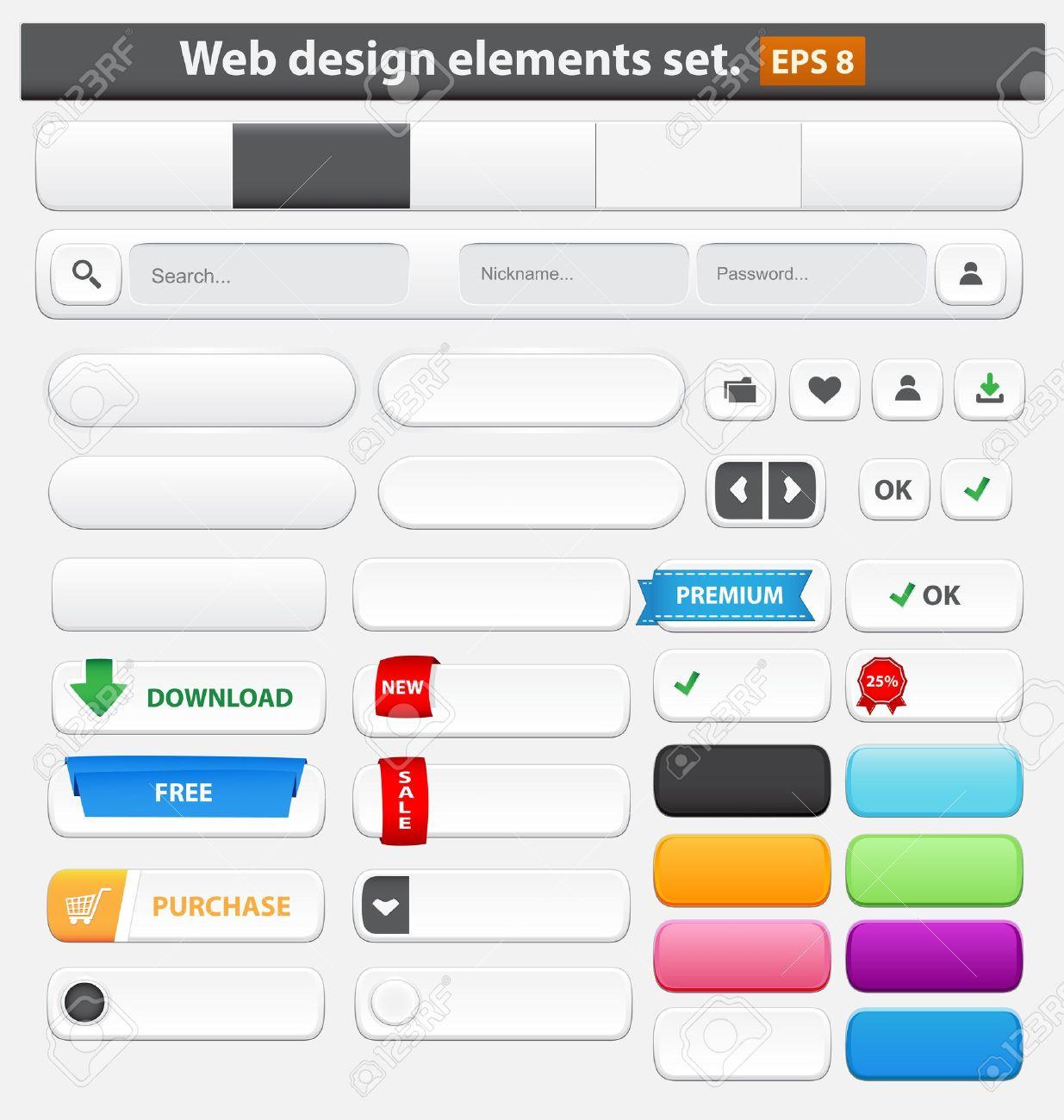 Web design elements set white  Vector illustration Stock Vector - 14780975