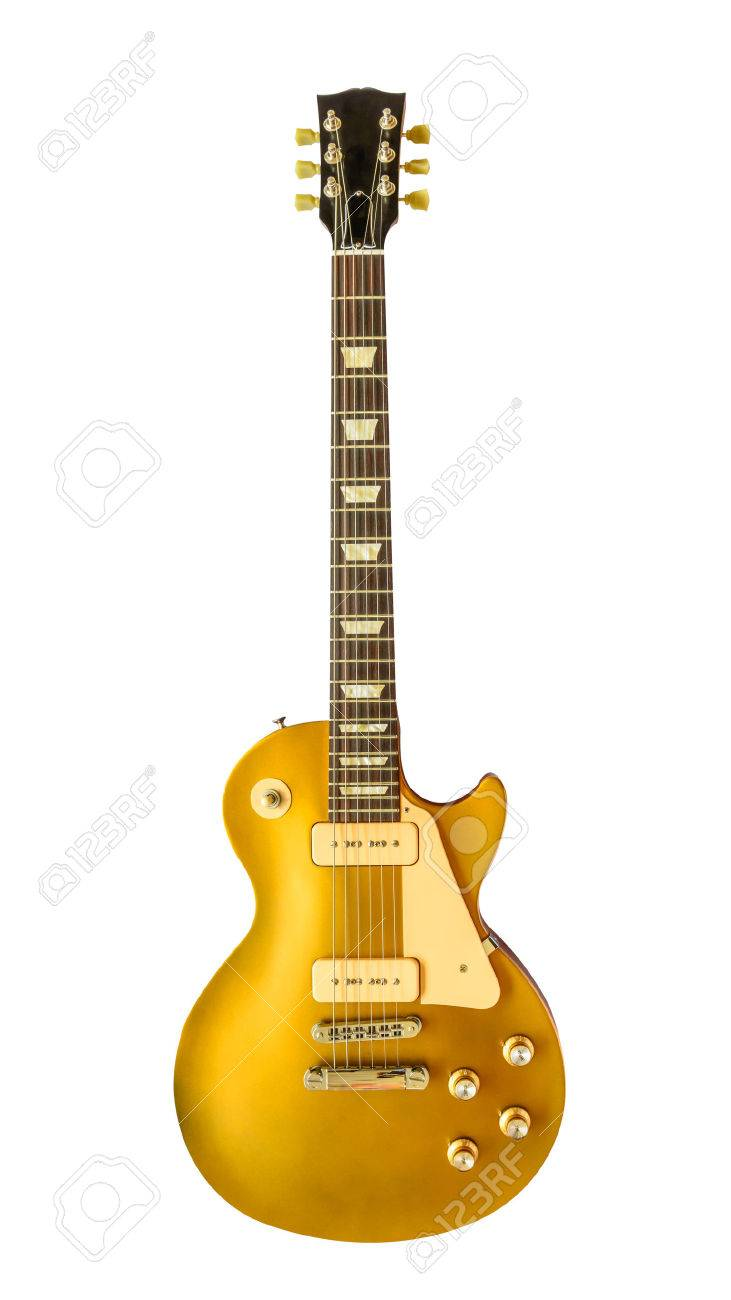 Vintage Electric Old Guitar isolated on white background - 29861767