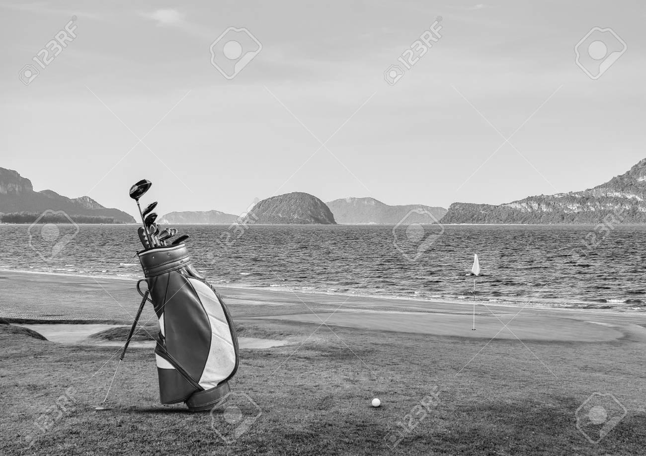 Golf Equipment On Green And Hole As Background Black And White Stock Photo Picture And Royalty Free Image Image 73835949