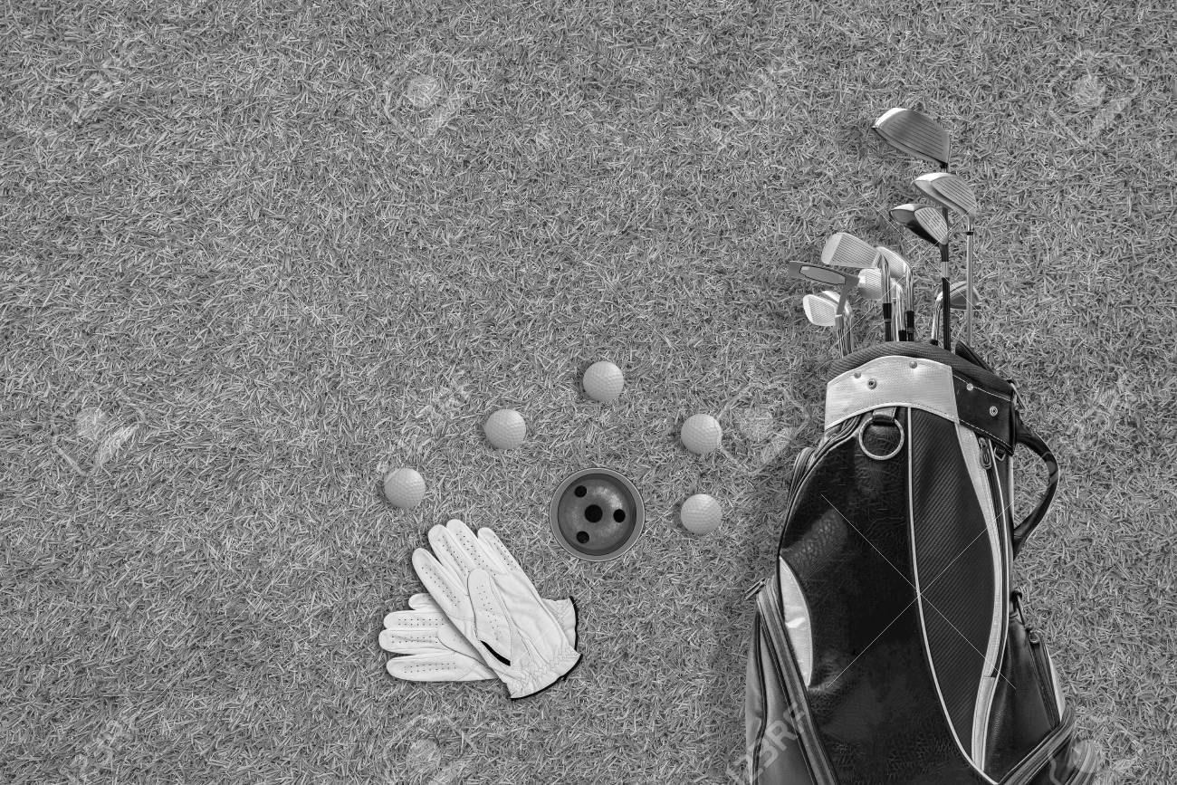 High Angle View Of Golf Bag Golf Club Gloves And Golf Ball Stock Photo Picture And Royalty Free Image Image 101921435
