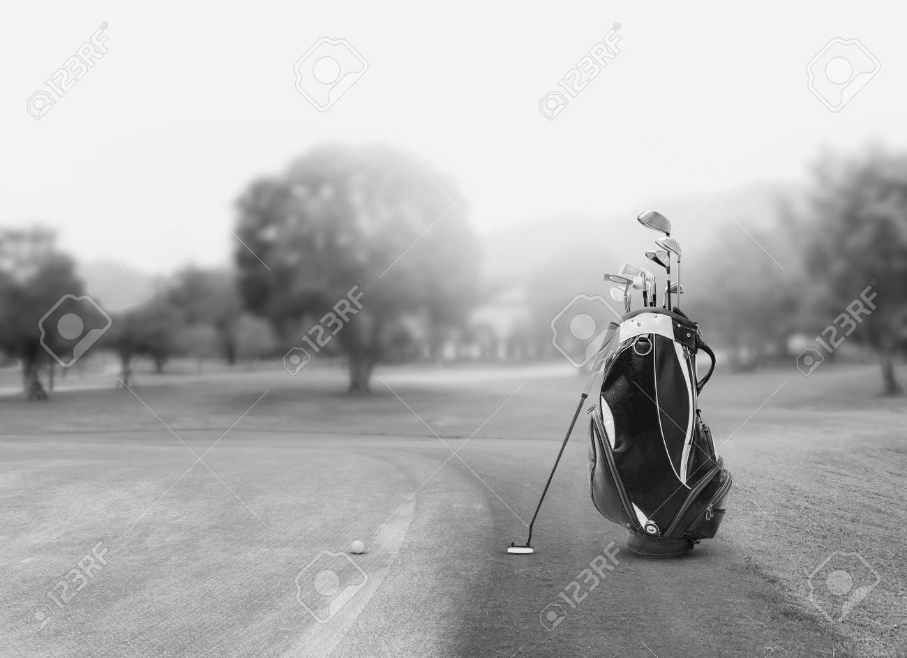 Golf Equipment And Golf Bag Putter Ball On Green And Golf Stock Photo Picture And Royalty Free Image Image 110522234