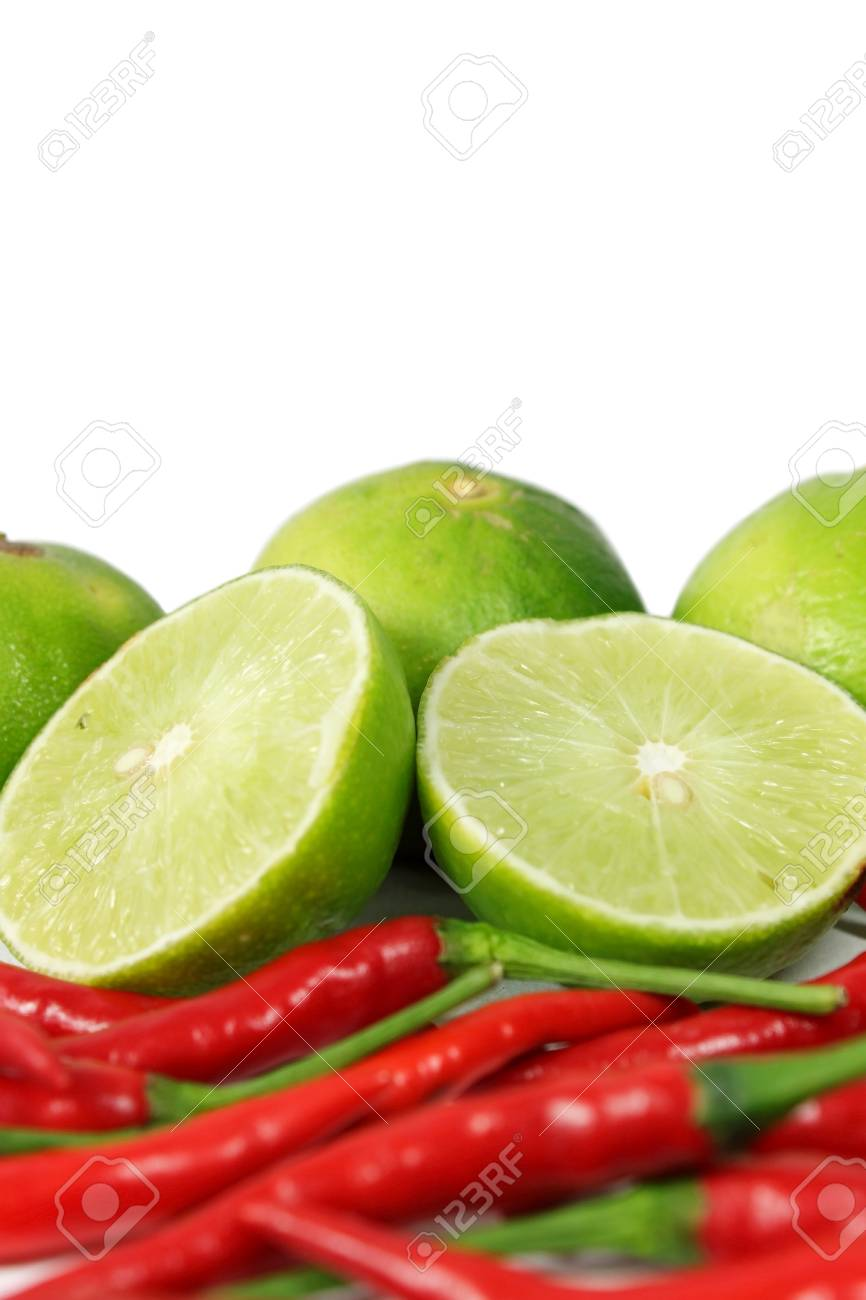 Red chili and limes Stock Photo - 14366129