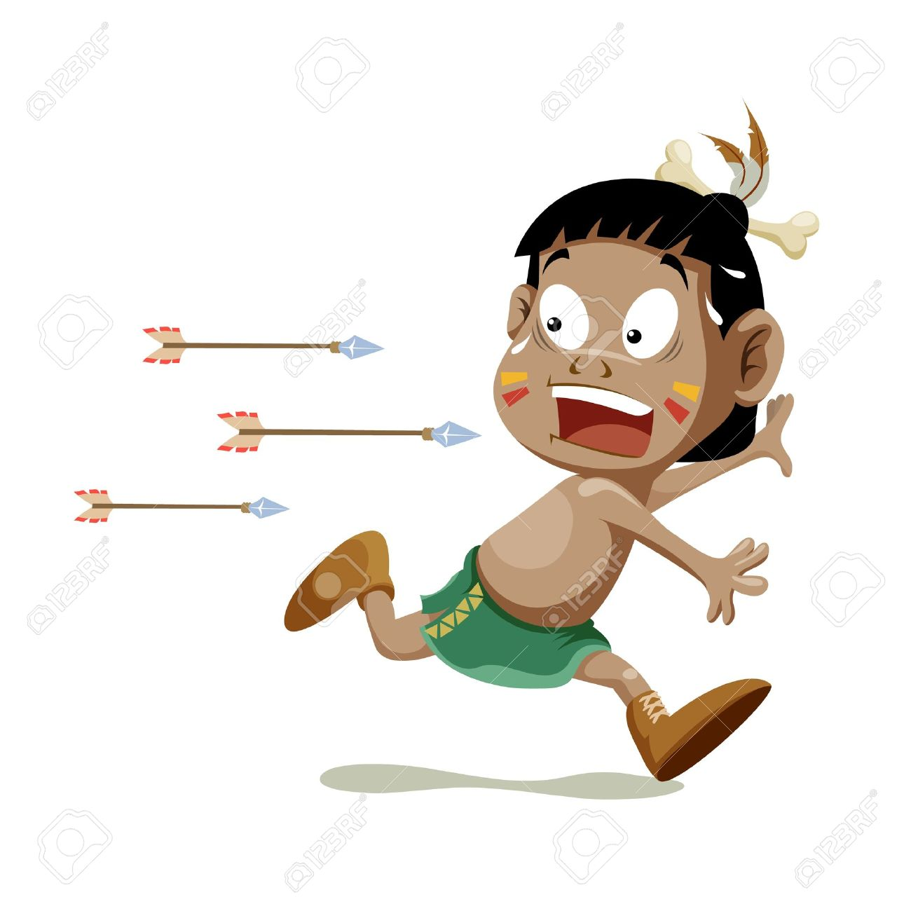American indian boy running Stock Vector - 14496894