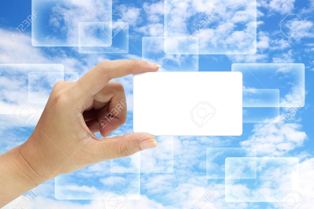 Hand holding an empty card background sky Stock Photo - 14536886
