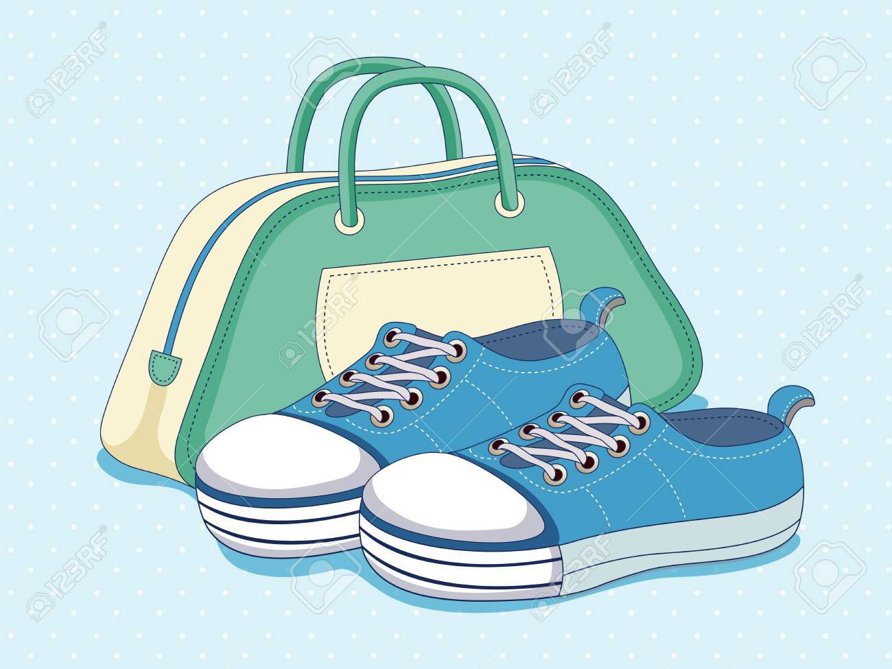 Sneakers and bag Stock Vector - 14536916