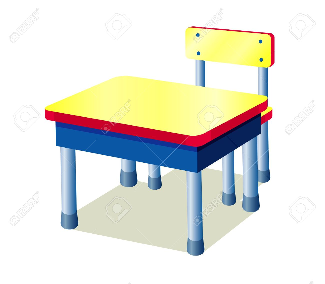 school table. School Table Isolated On White Stock Vector - 14643147