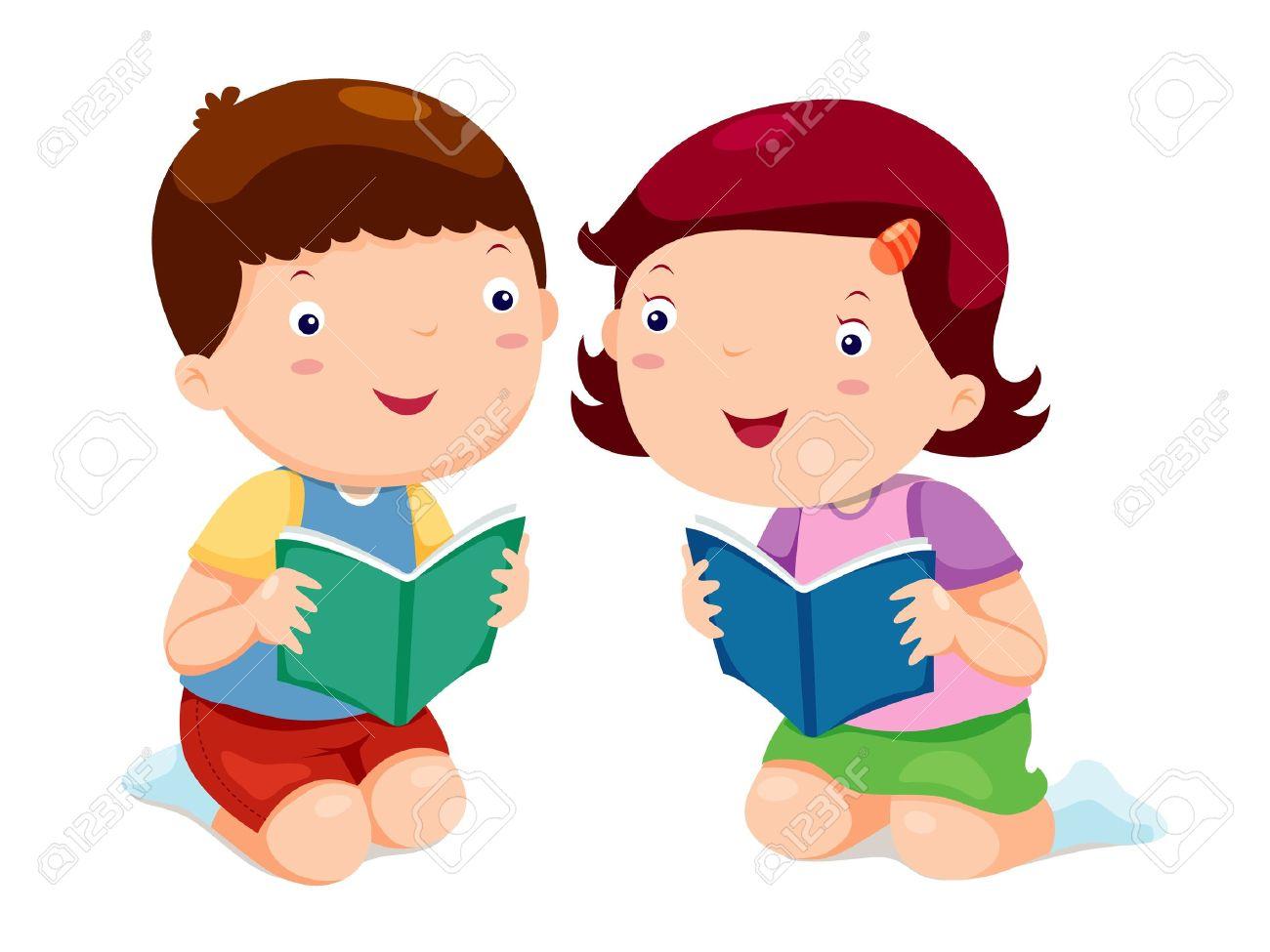 Kids reading books Stock Vector - 14812643
