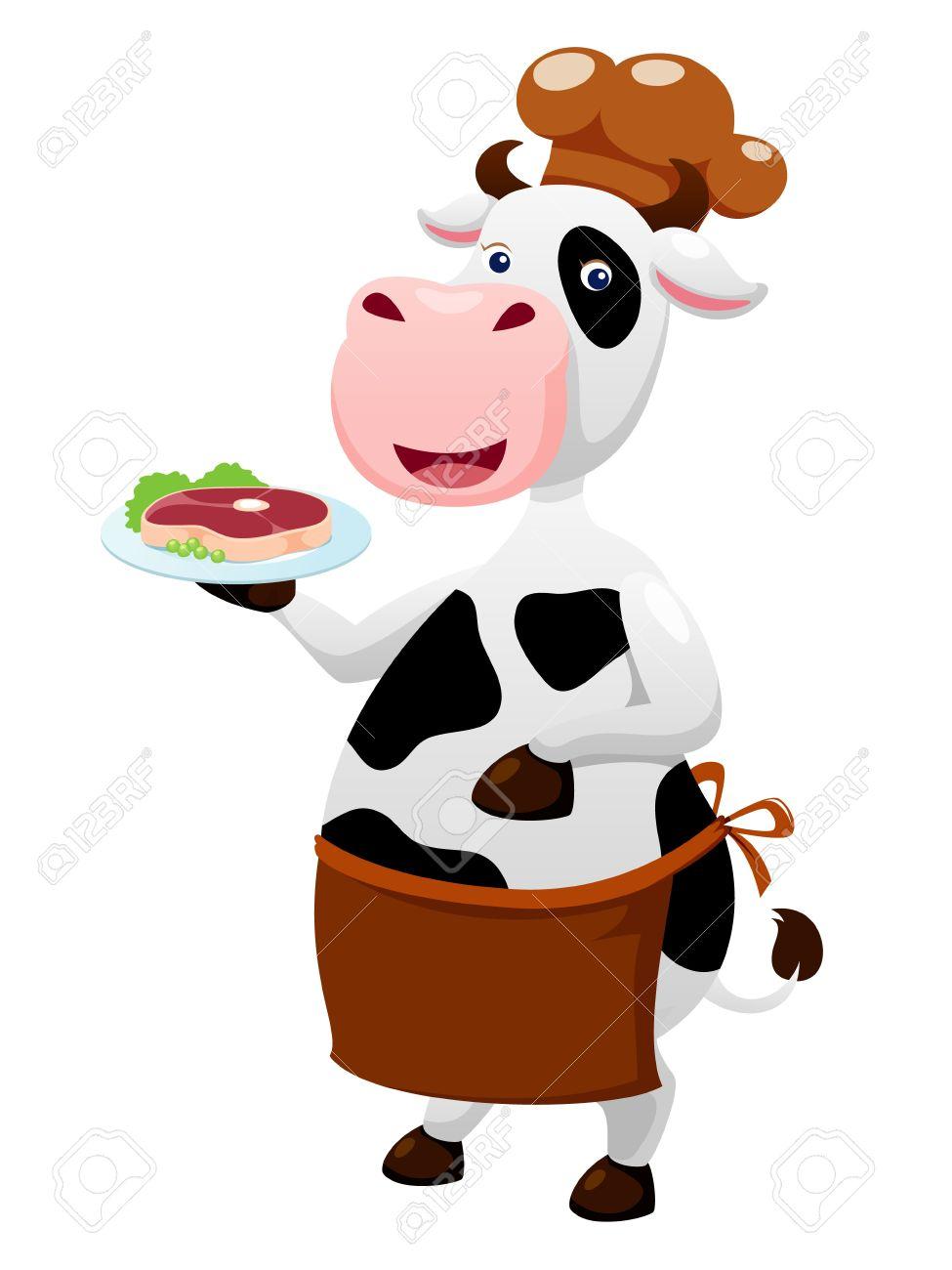 Cow cartoon with beef steak Stock Vector - 14812682