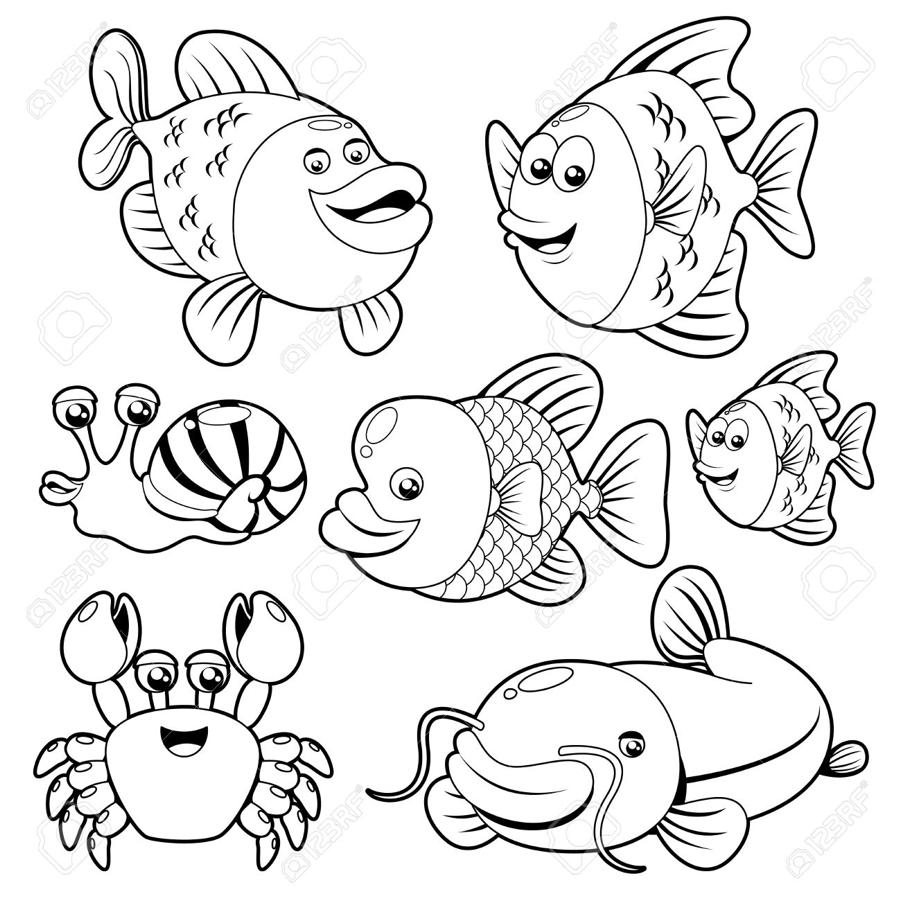 Ocean Animals Clip Art Black
