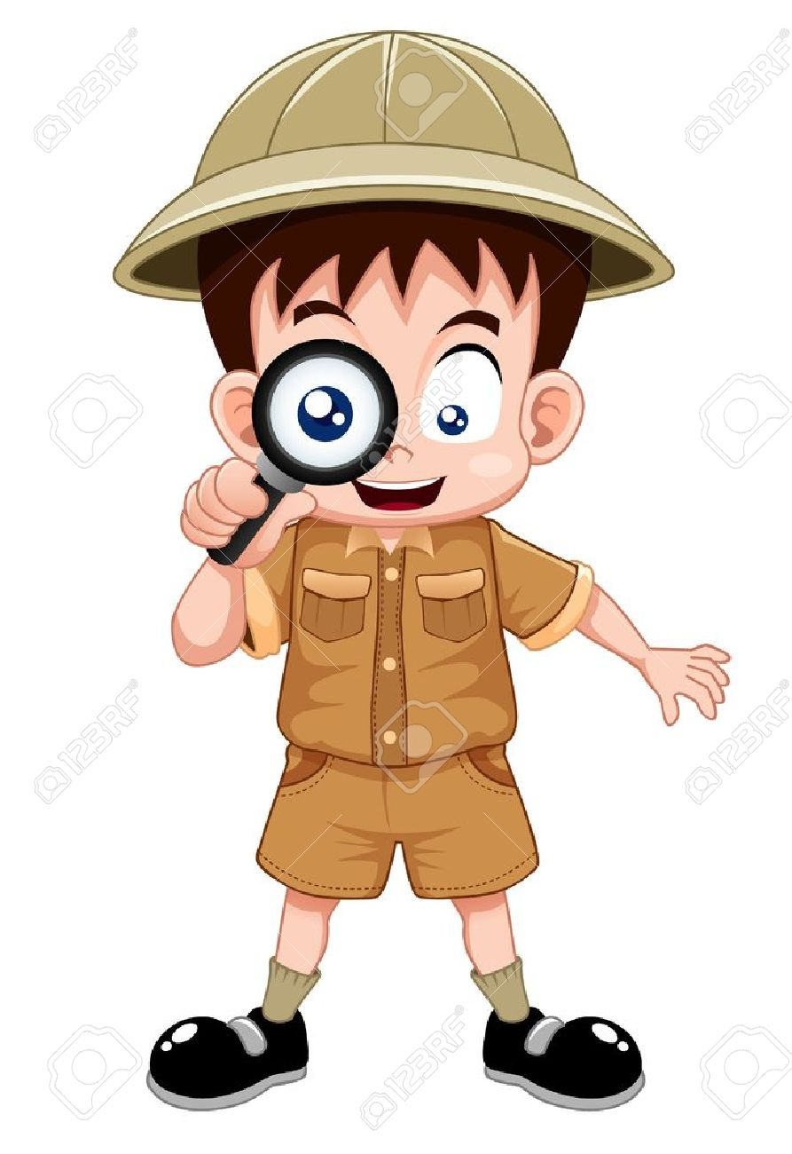 Boy scout with magnifying glass Stock Vector - 15247776