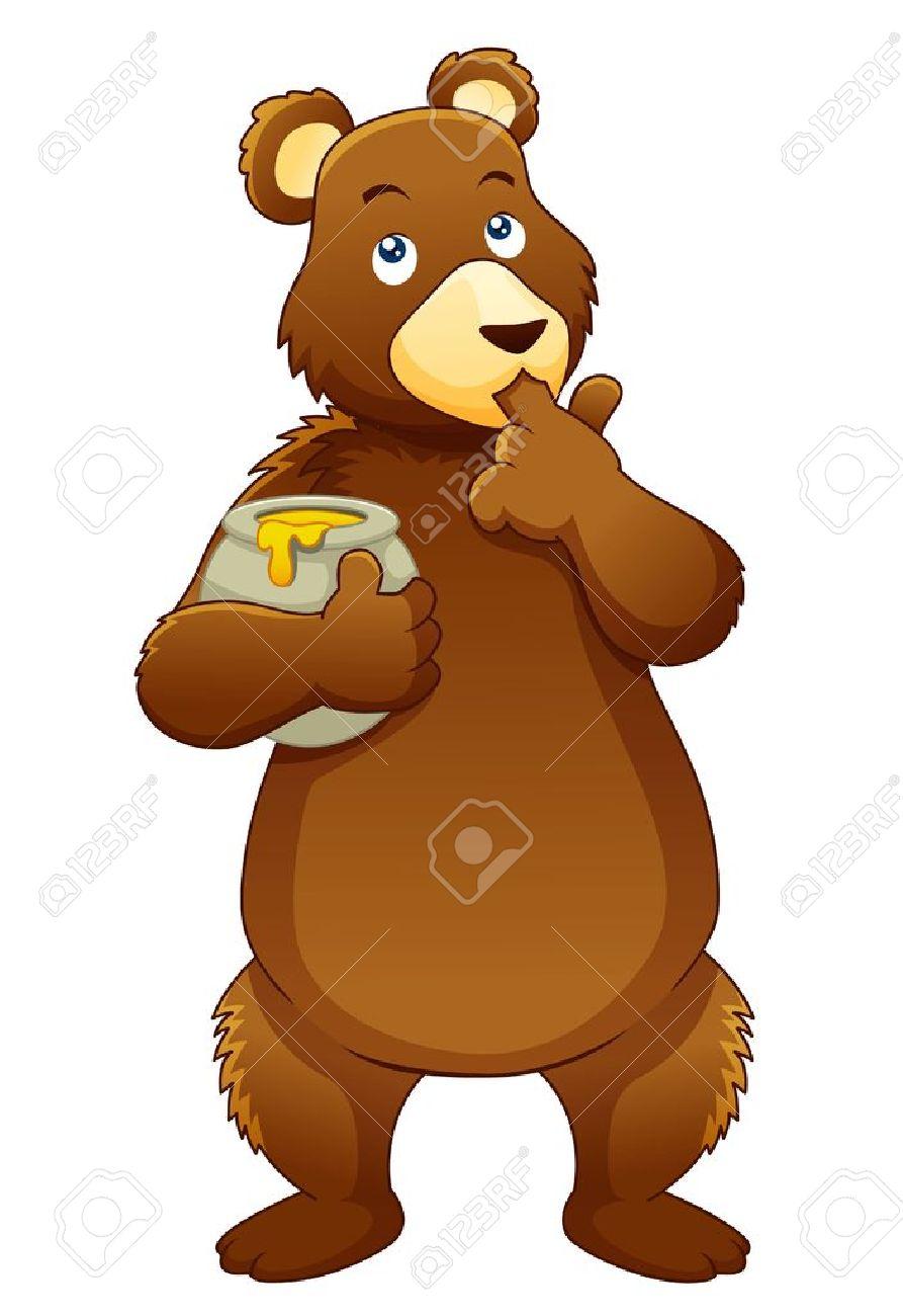 Illustration of Bear eating Honey Bear Illustration