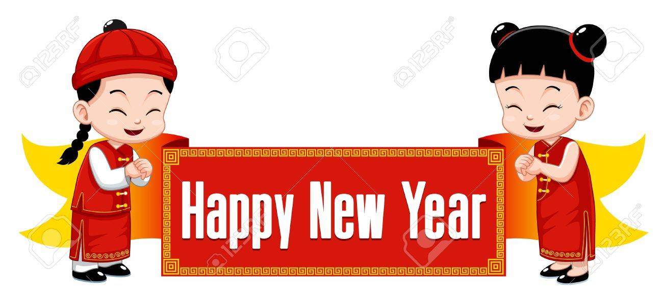 Chinese Kids With Happy New Year Sign Royalty Free Cliparts ...