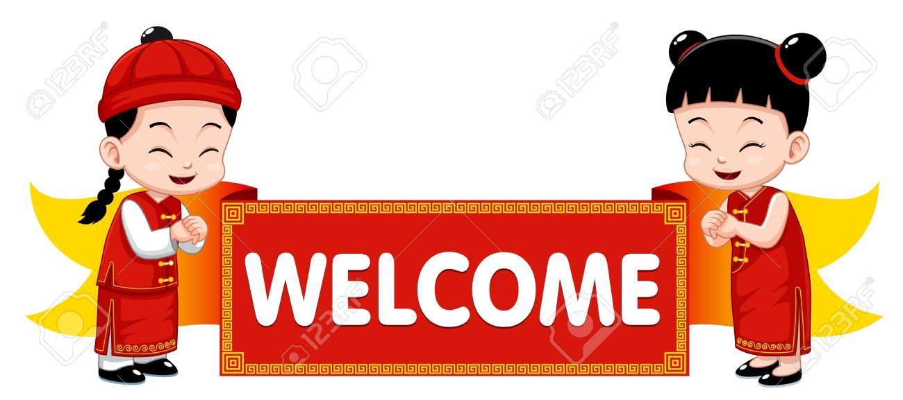 chinese kids with welcome sign royalty free cliparts vectors and