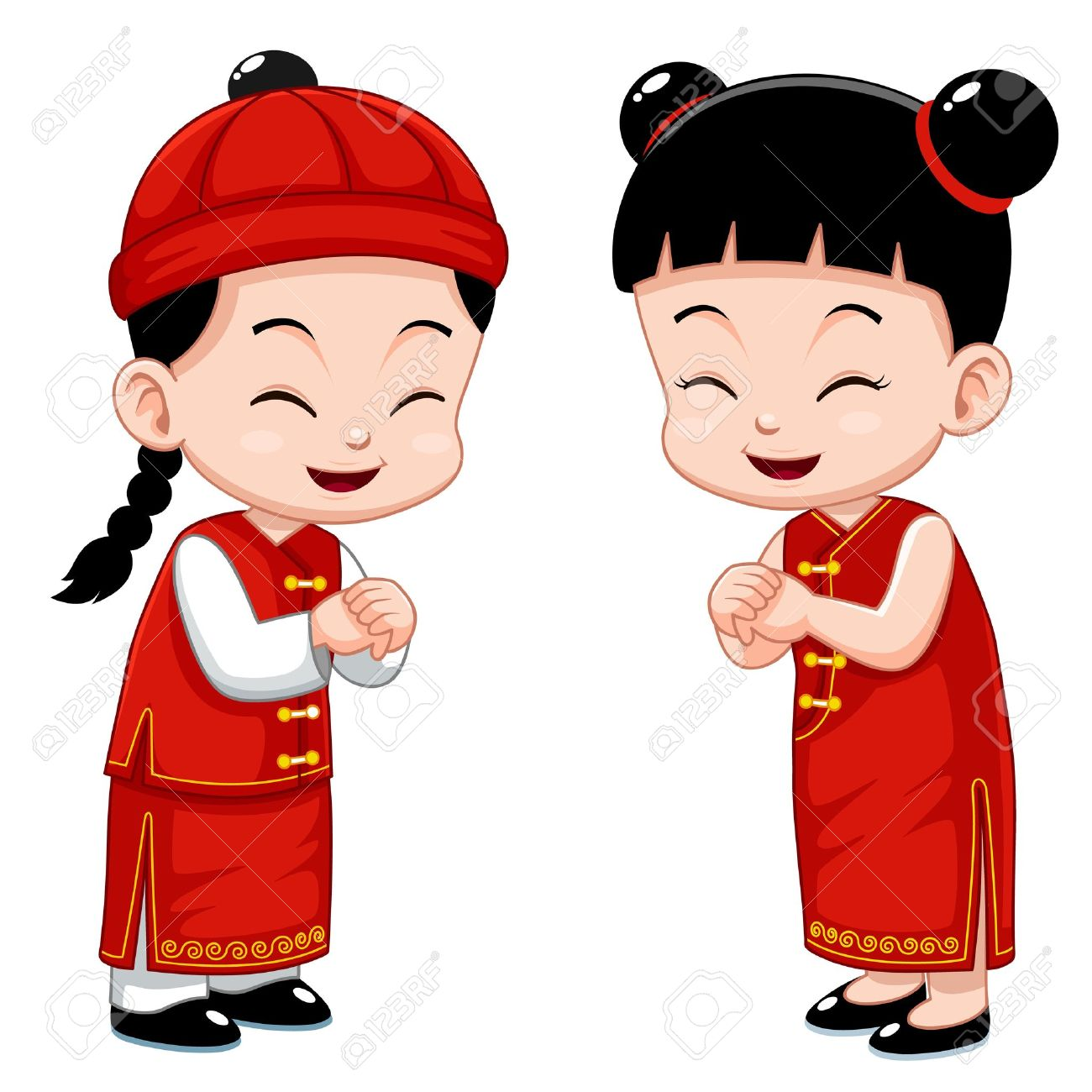 Chinese Kids Stock Vector