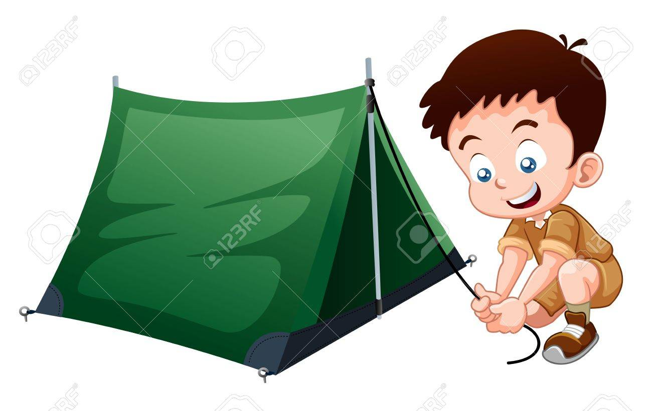 Boy Scout With Camping Tent Stock Vector