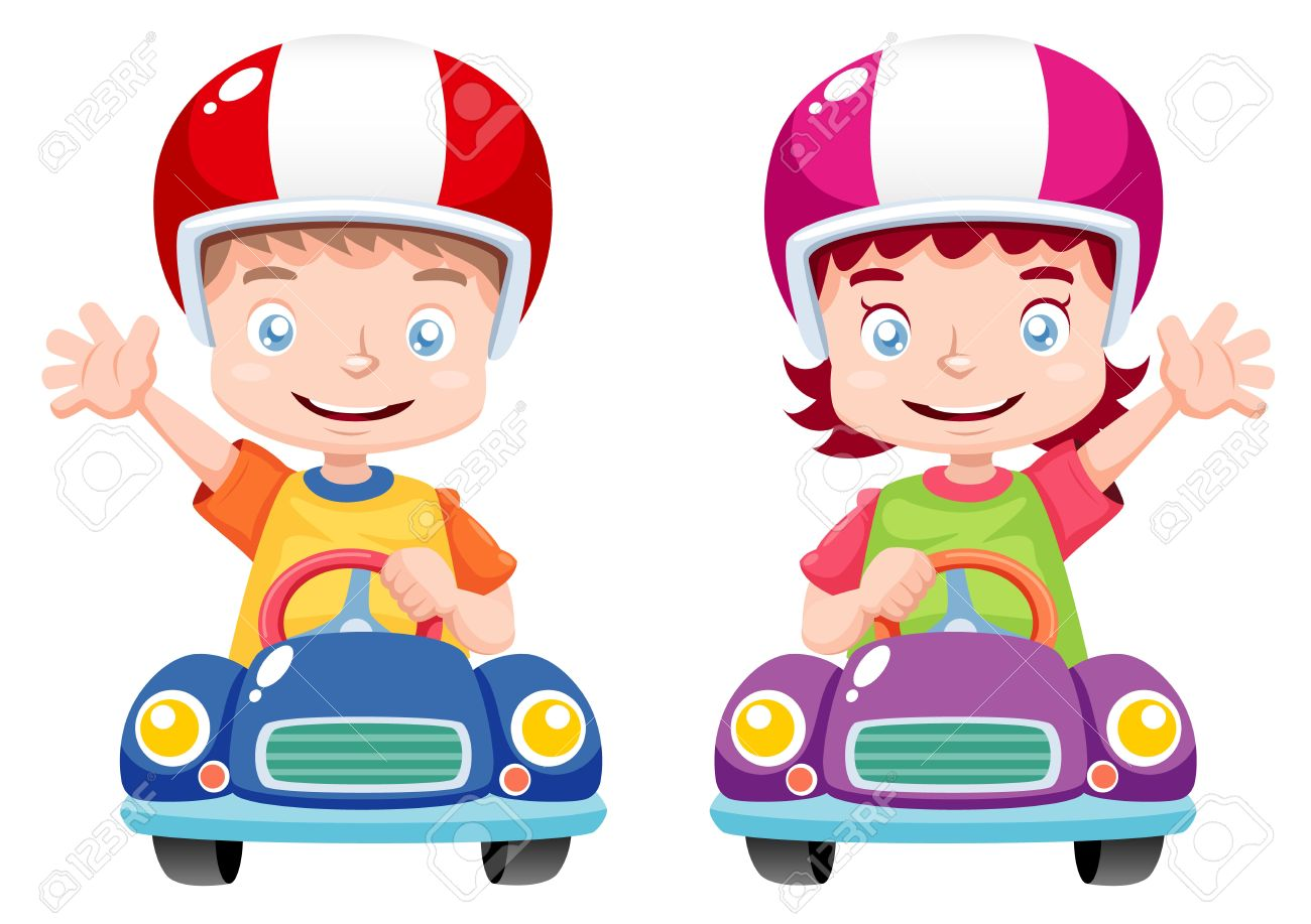 Illustration Of Kids Raced On Toy Car Royalty Free Cliparts Vectors