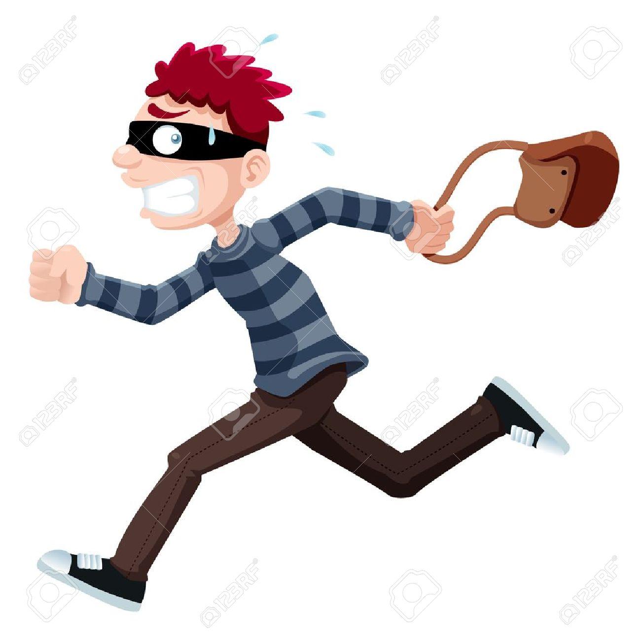 Cartoon Thief Running Illustration of Thief Running