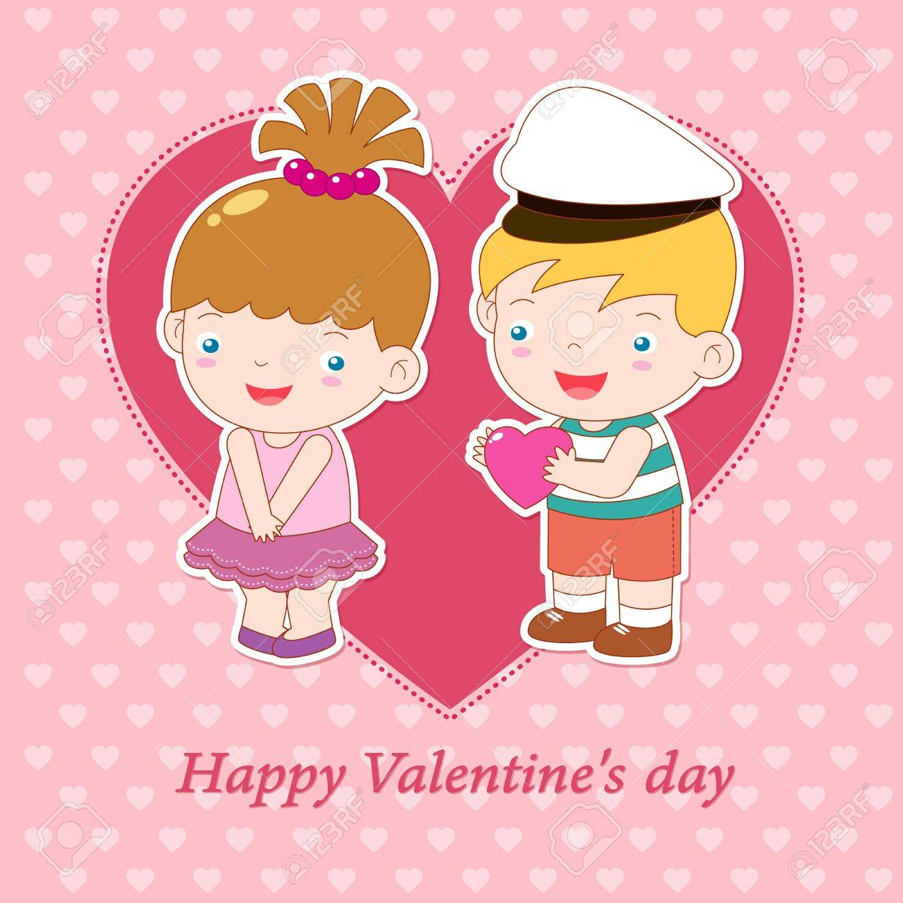 illustration of boy and girl on heart background Valentine day concept Stock Vector - 15834349