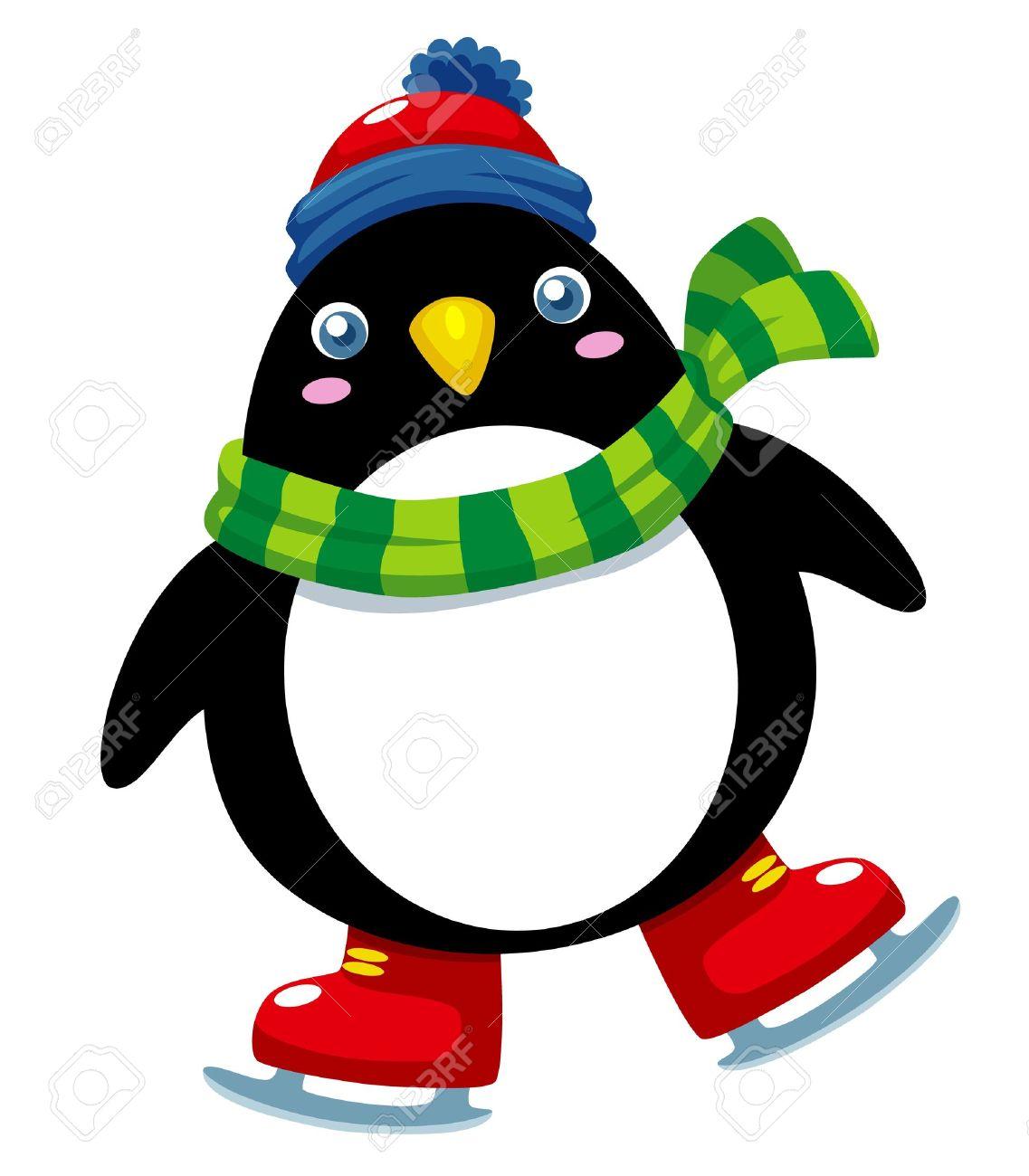 Illustration of cute penguin ice skates Stock Vector - 15904570