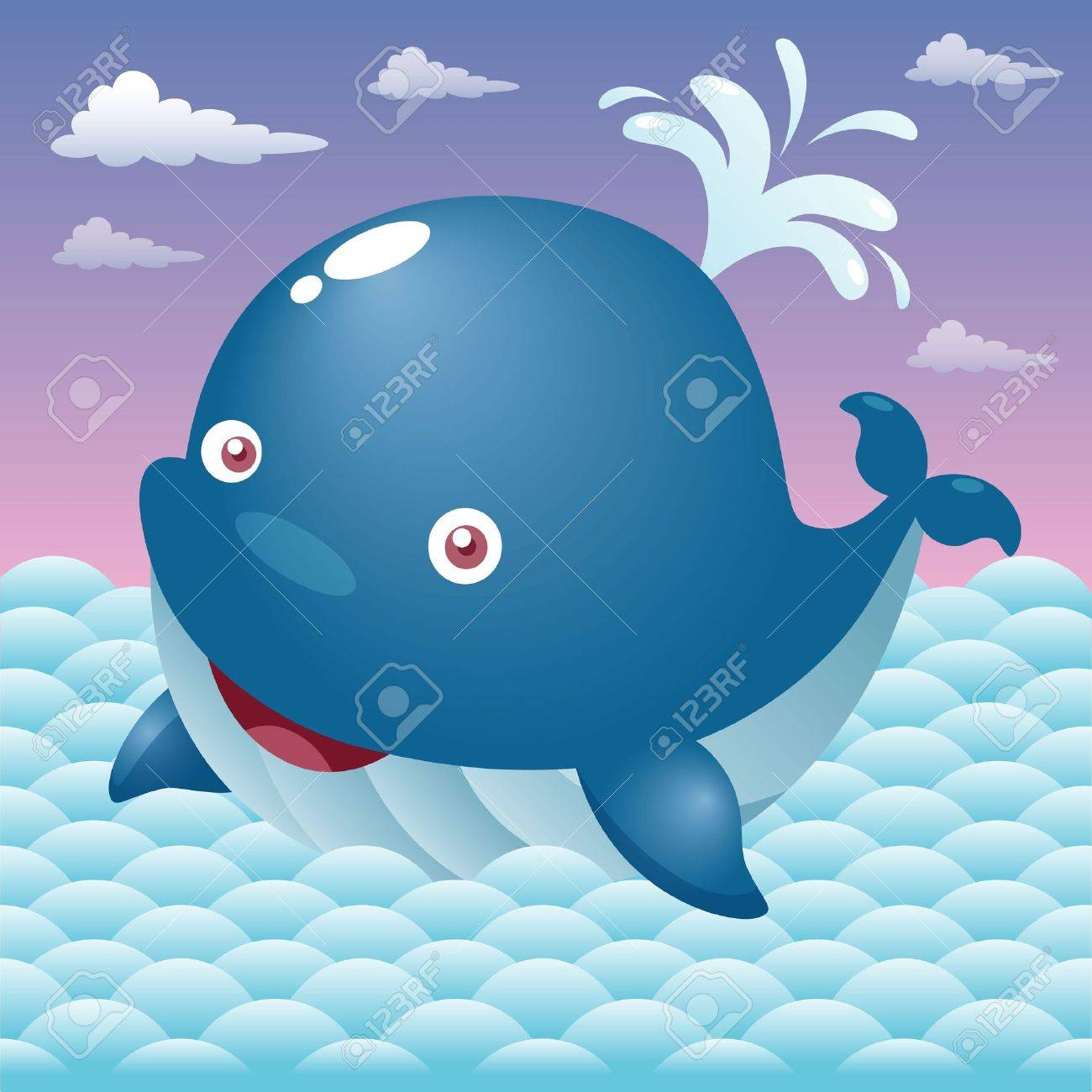 Cute whale in water cartoon isolated illustration stock photography - Illustration Of A Cute Cartoon Whale Stock Vector 15904577