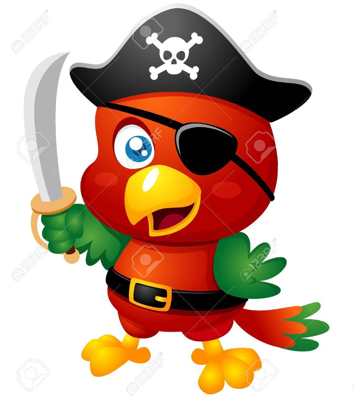 Illustration of Cartoon Pirate Parrot Stock Vector - 15904584
