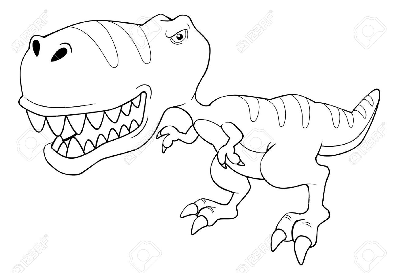 illustration of cartoon dinosaur outline stock vector 16212293