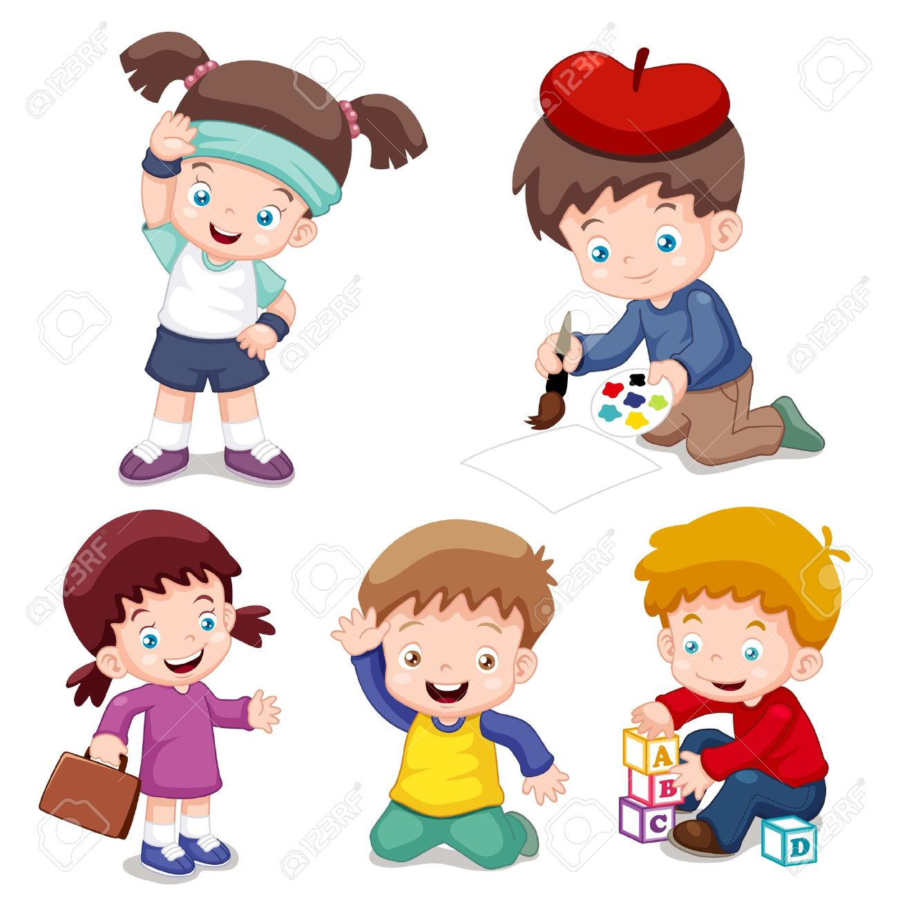illustration of characters kids cartoon vector royalty free