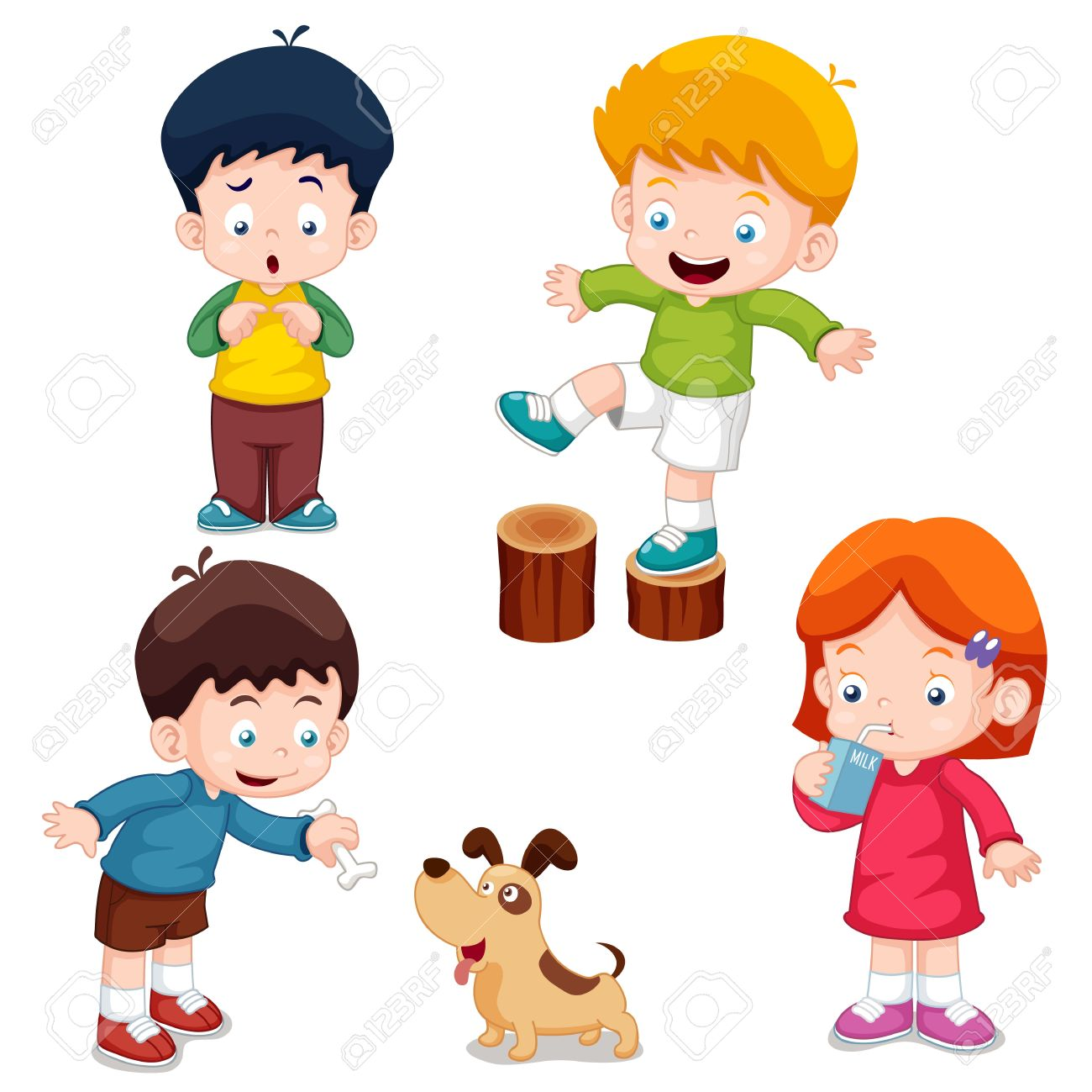 vector illustration of characters kids cartoon vector - Cartoon Kids Drawing