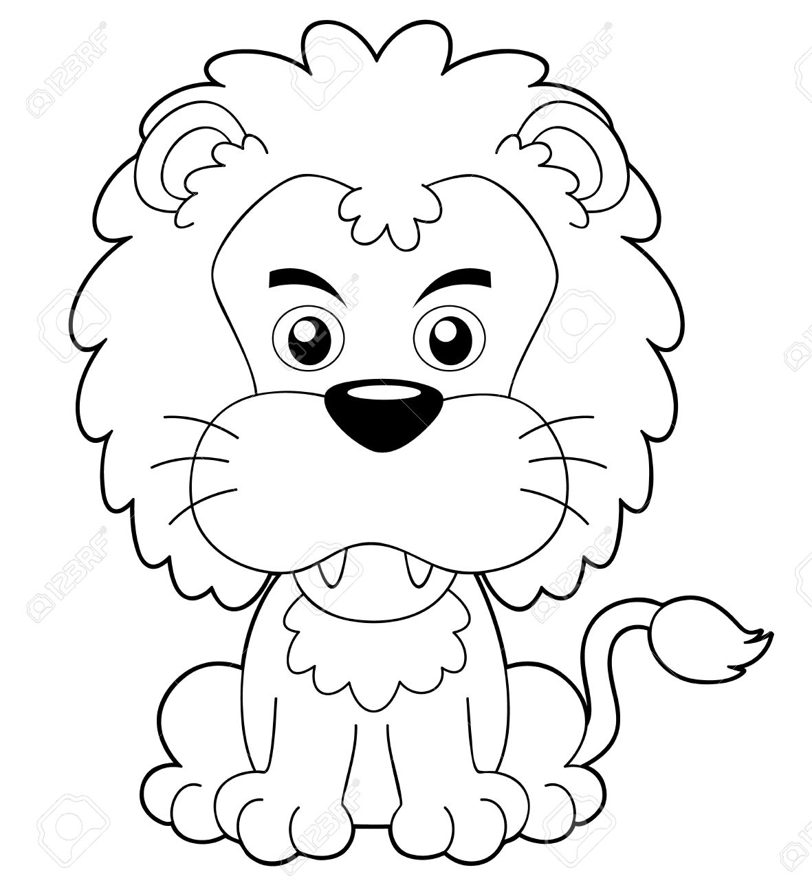 illustration of cartoon lion outline royalty free cliparts