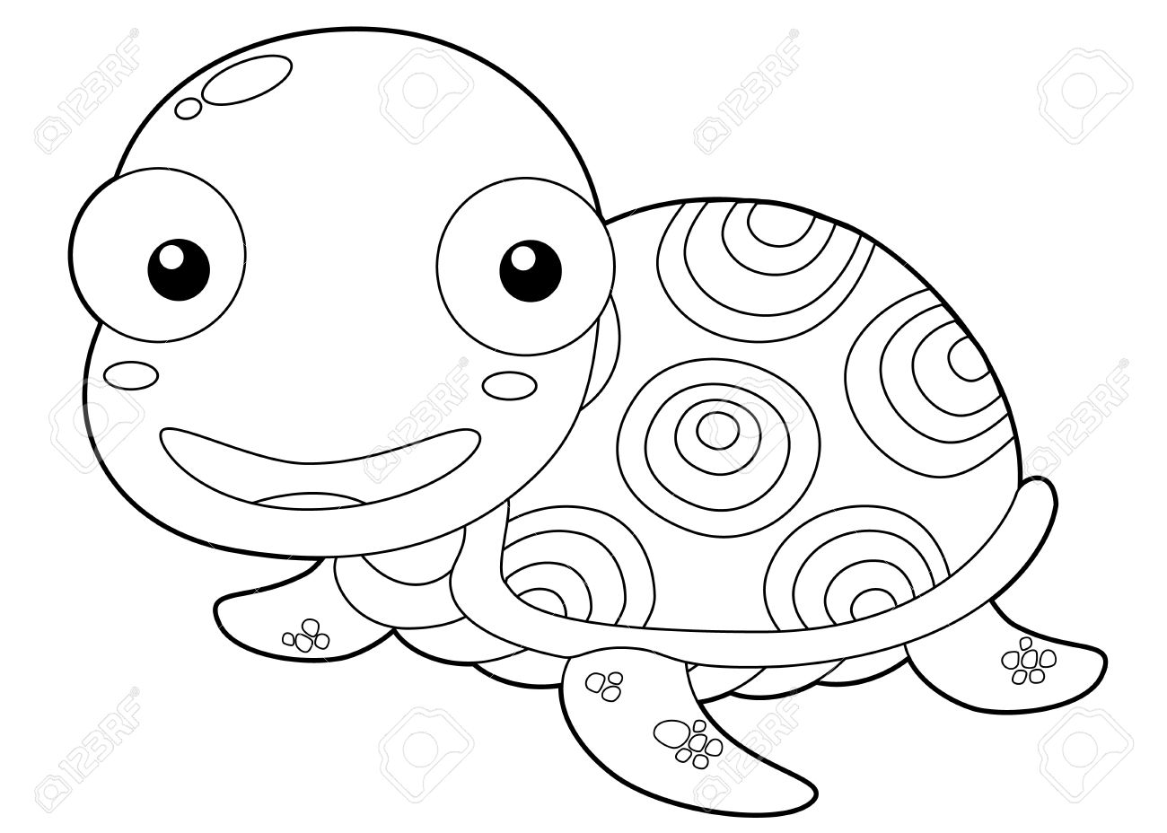 illustration of cartoon turtle outline stock vector 16392834 - Outline Cartoon Pictures
