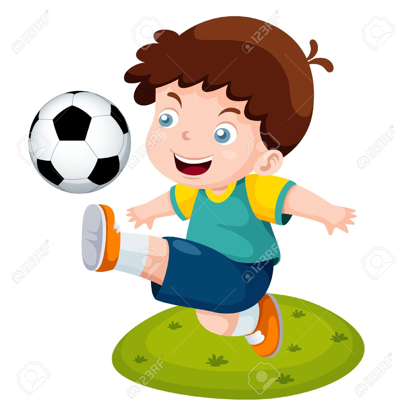illustration of cartoon boy playing soccer stock vector 16499582