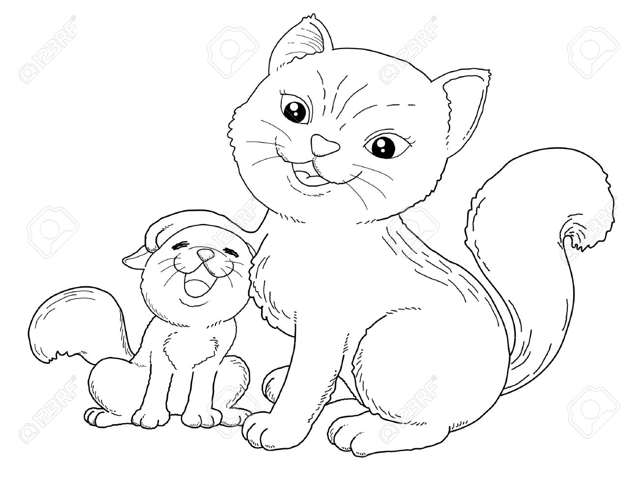 Coloring Book Illustration Of Cat And Little Cat Royalty Free
