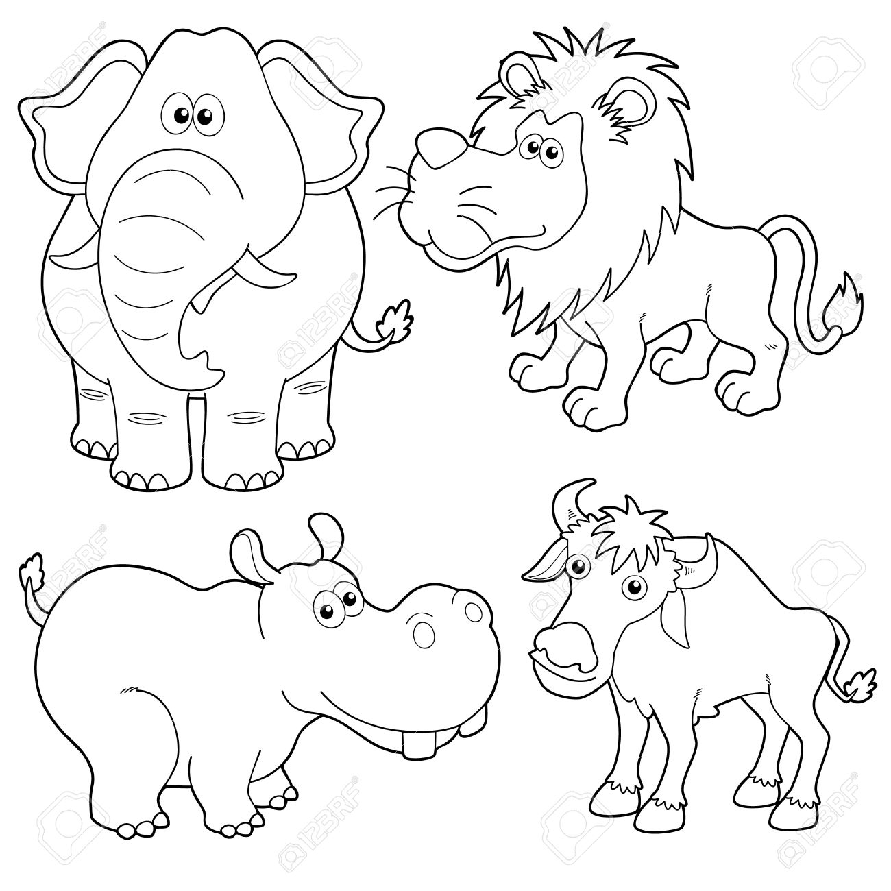 illustration of wild animals cartoons outline royalty free cliparts