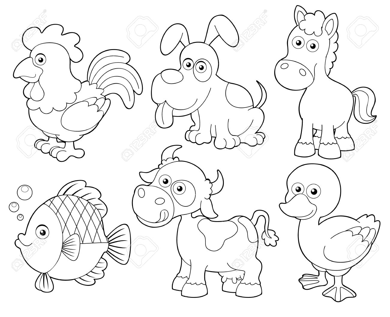 Illustration Of Farm Animals Cartoon Coloring Book Royalty Free ...
