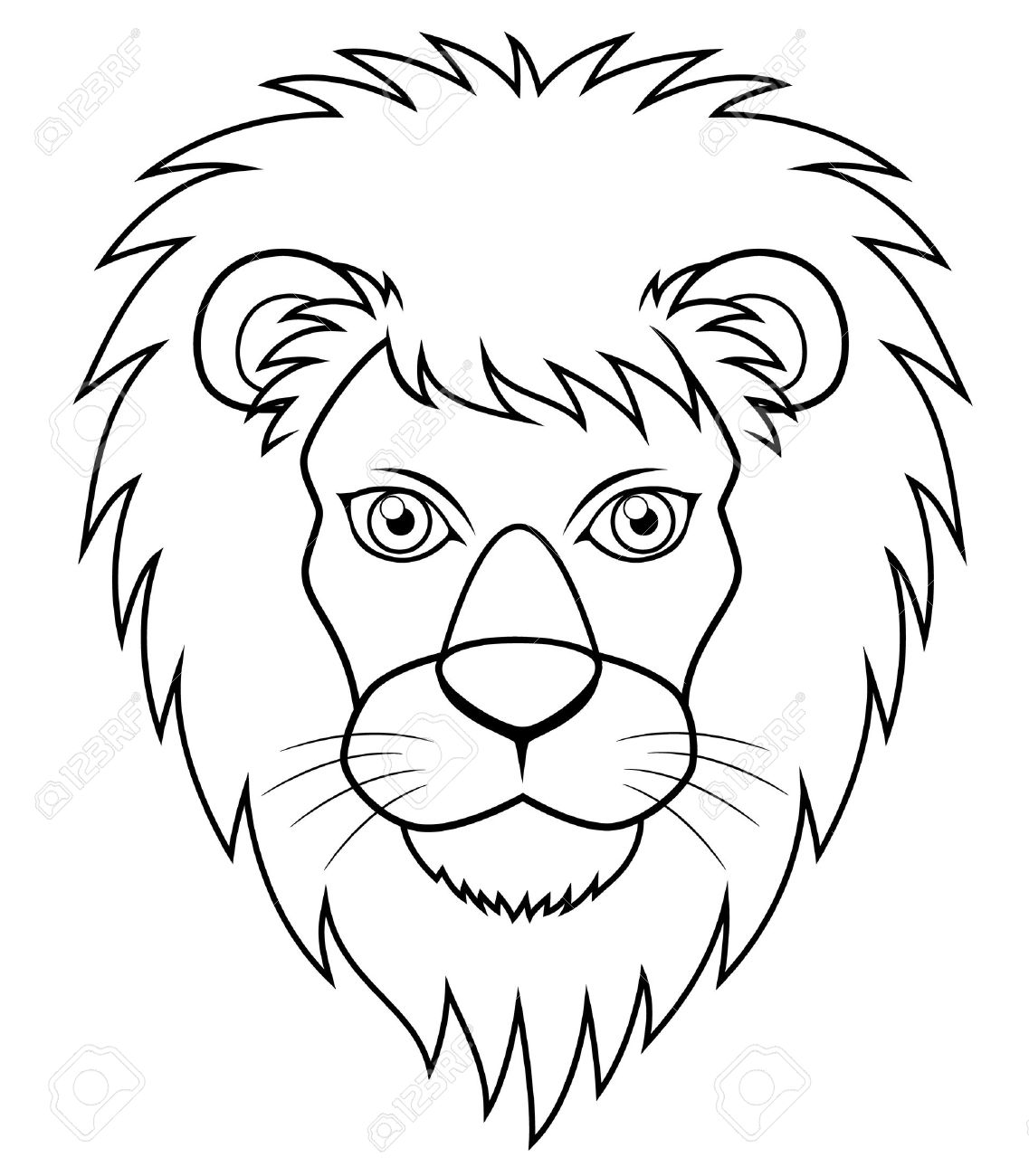 illustration of lion face outline stock vector 16715417