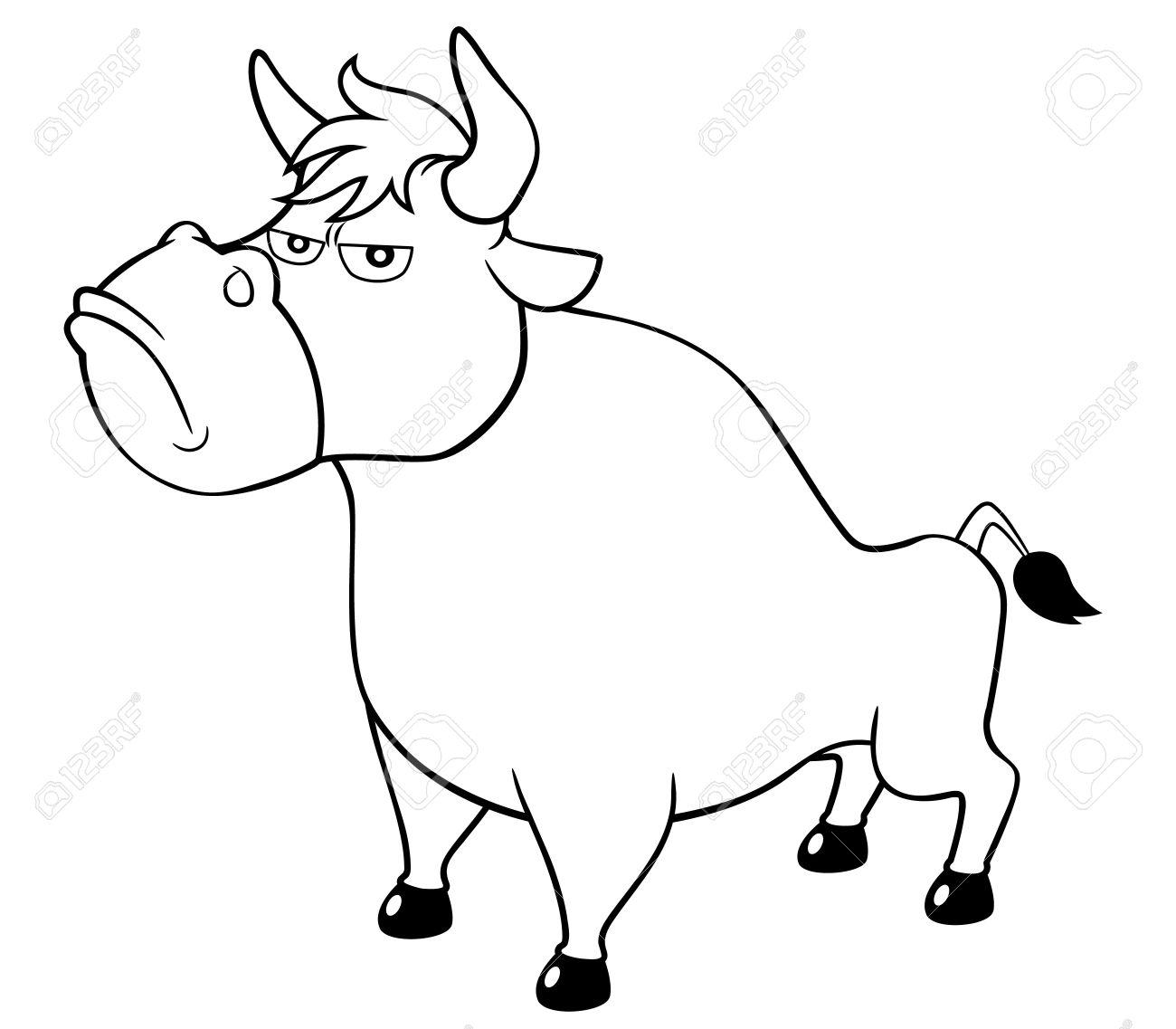 Illustration Of Cartoon Bull Coloring Book Royalty Free Cliparts ...